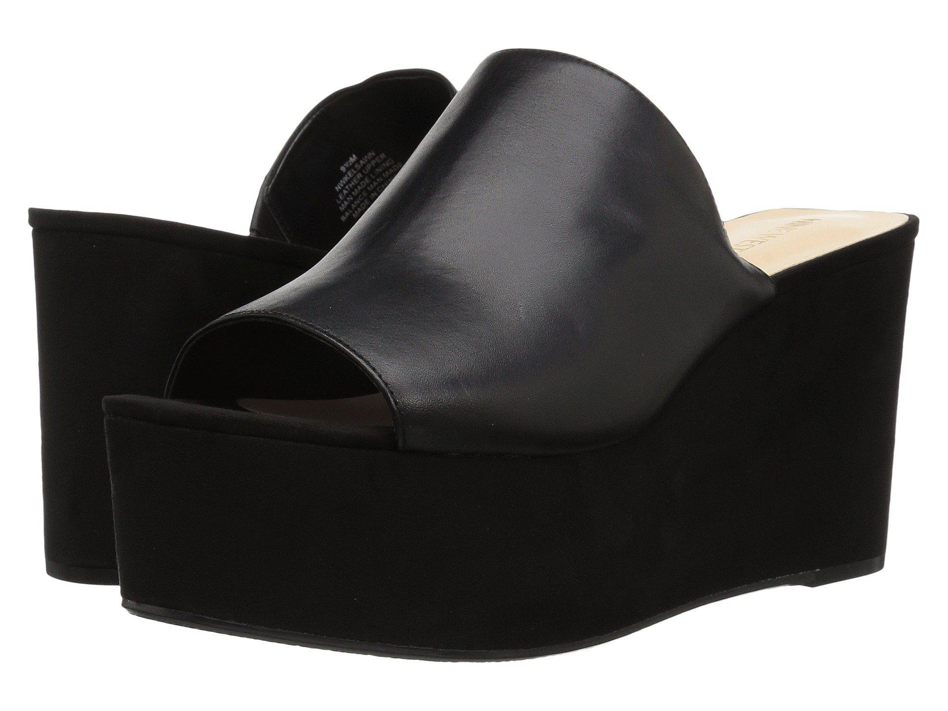 3b963d40d10d Lyst - Nine West Kelsawn Platform Wedge Slide Sandal in Black