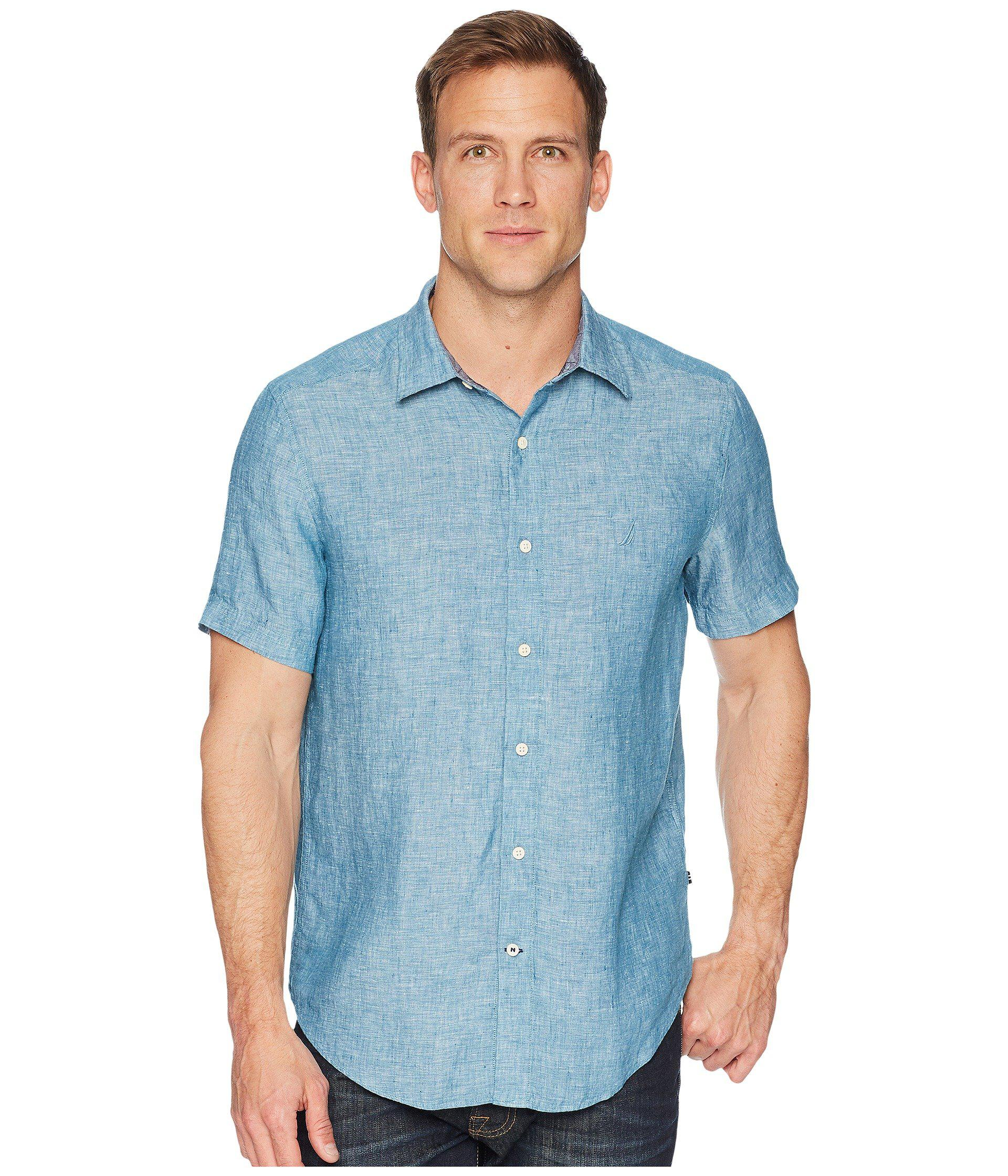 Lyst Nautica Short Sleeve Classic Fit Solid Linen Button Down
