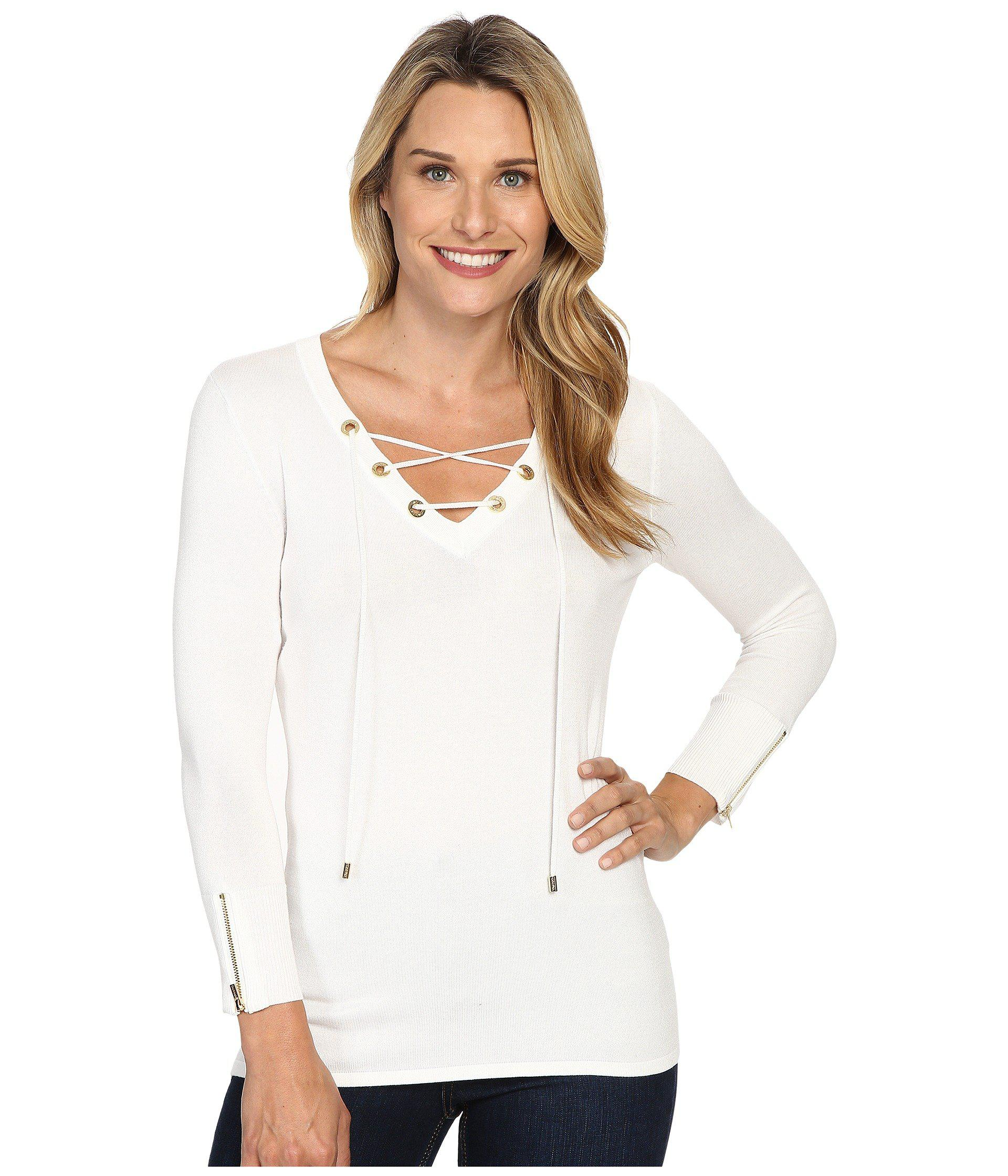 Lyst - Calvin Klein Fine Gauge Lace-up Sweater in White 04201e1e6