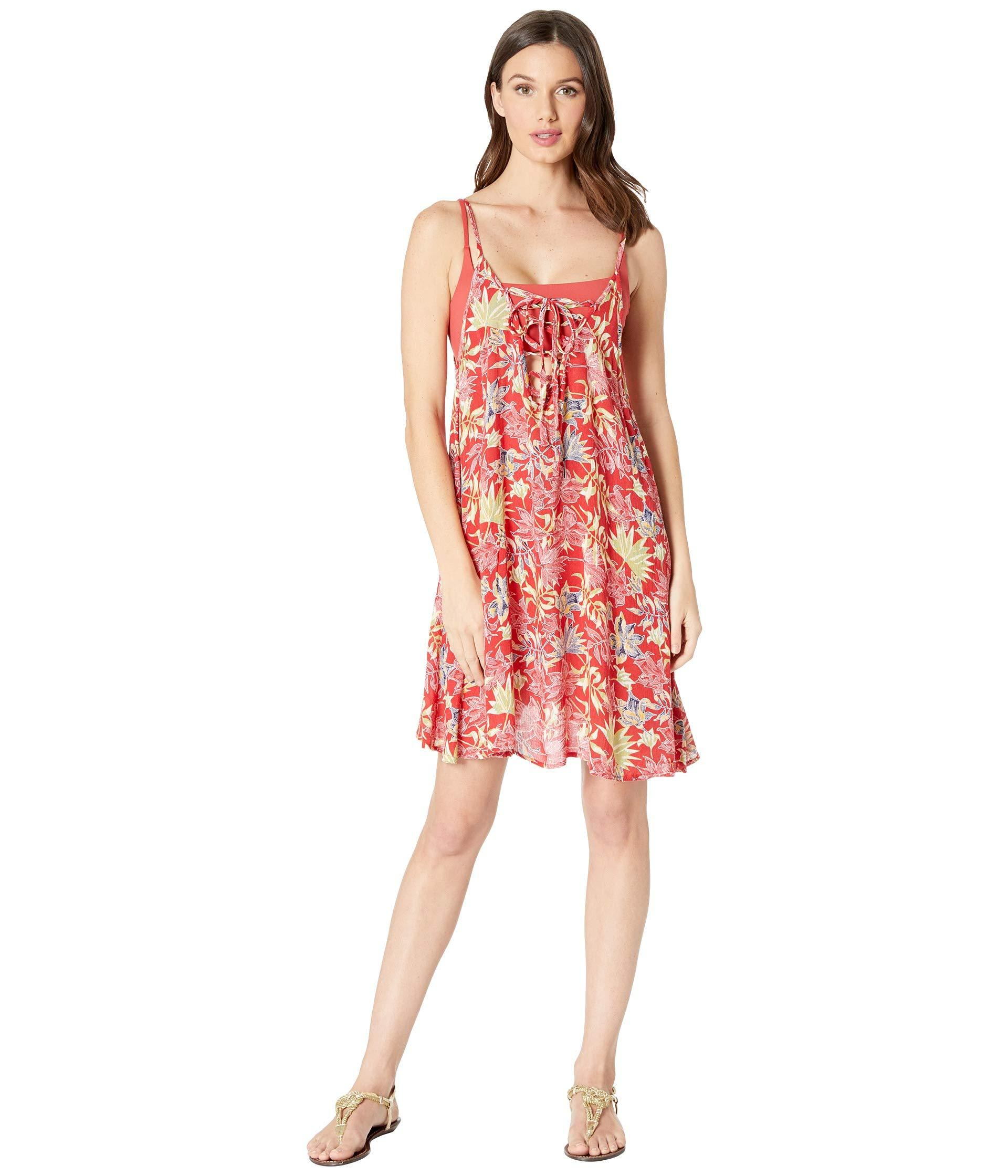 2df04f4e0c Roxy Printed Softly Love Cover-up Swimsuit Dress in Red - Lyst