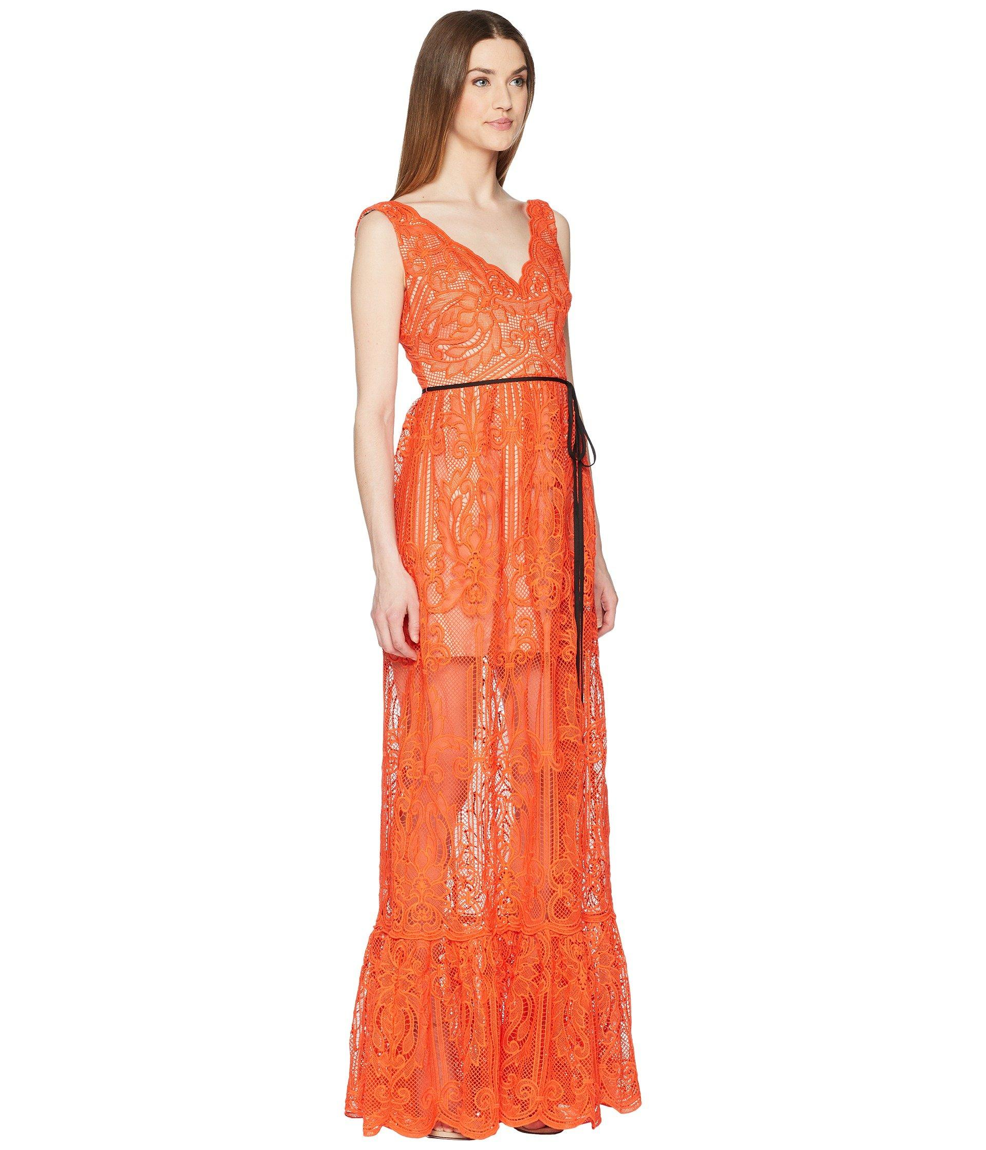 79bb1ce1813 ML Monique Lhuillier Lace Overlay Sleeveless Maxi Dress in Orange - Save  36% - Lyst