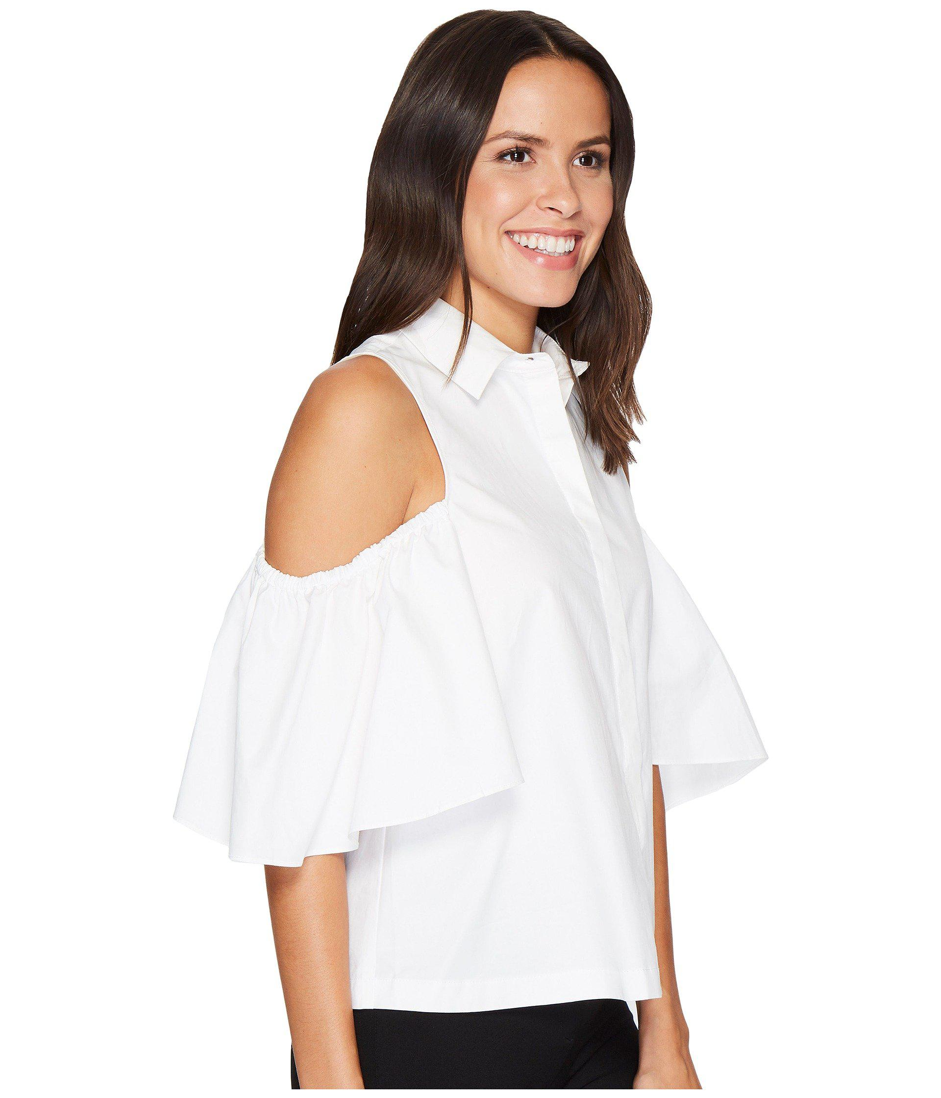 9d1d87f8 Lyst - Catherine Malandrino Cold Shoulder Collared Shirt in White
