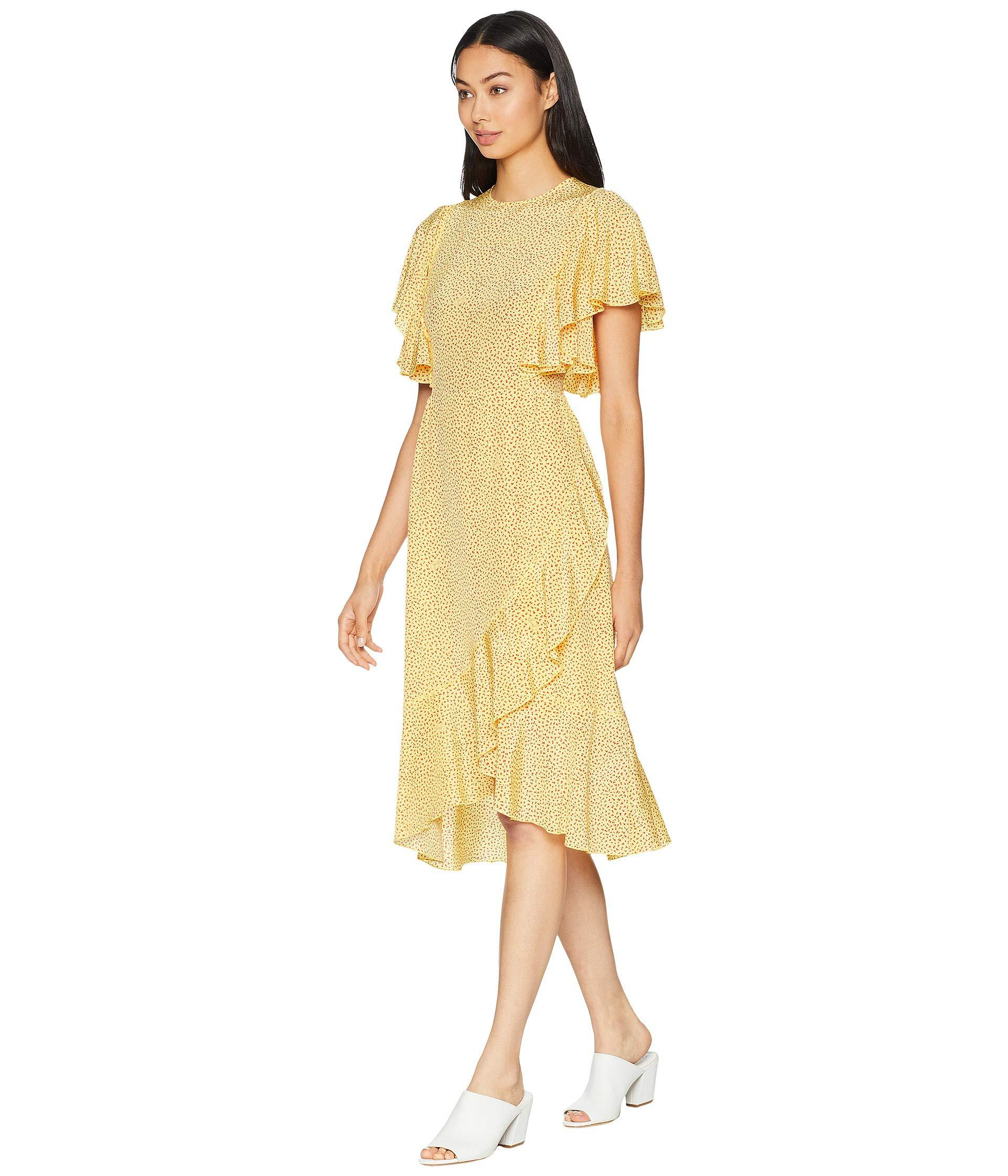 b326689657c95 Lyst - Juicy Couture Laurel Ditsy Ruffle Silk Dress in Yellow