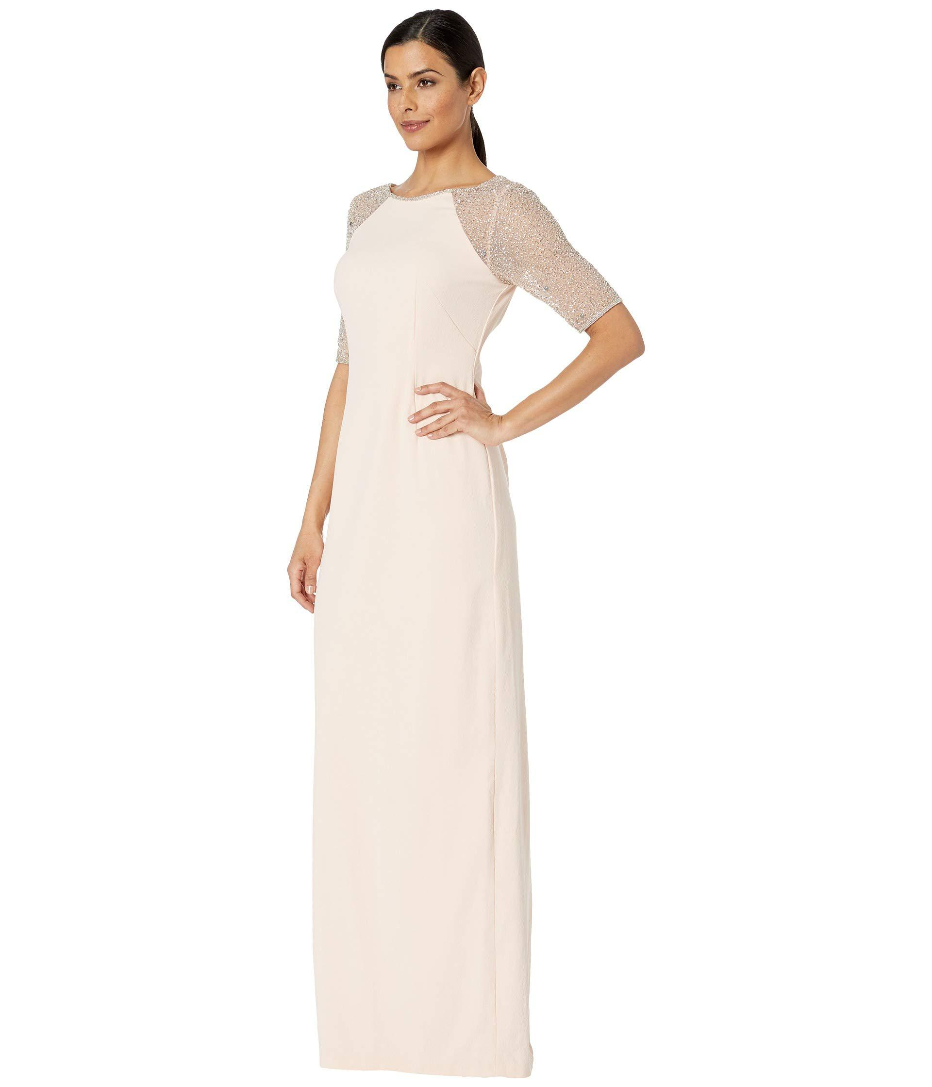 a803f402c826 Lyst - Adrianna Papell Short Sleeve Beaded Gown - Save 43%