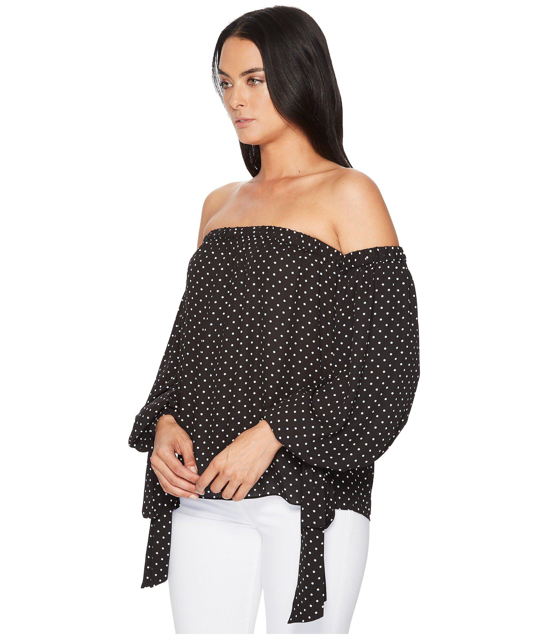 95877595c0457 Lyst - Vince Camuto Poetic Dots Bubble Sleeve Off Shoulder Blouse in Black  - Save 36%