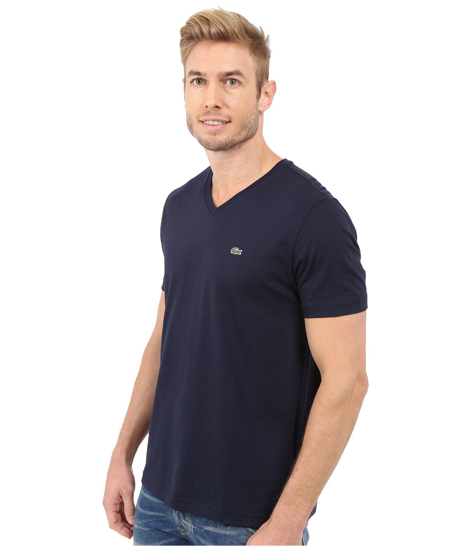 28b907e8cb6b Lyst - Lacoste Short Sleeve Pima Jersey V-neck T-shirt in Blue for Men