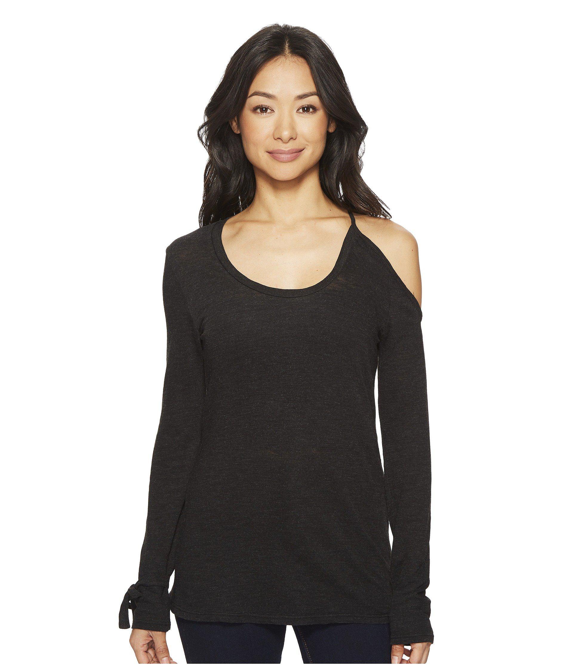124ebf99b9c9d Lyst - Lanston Cold Shoulder Tie Long Sleeve Top in Black - Save 62%