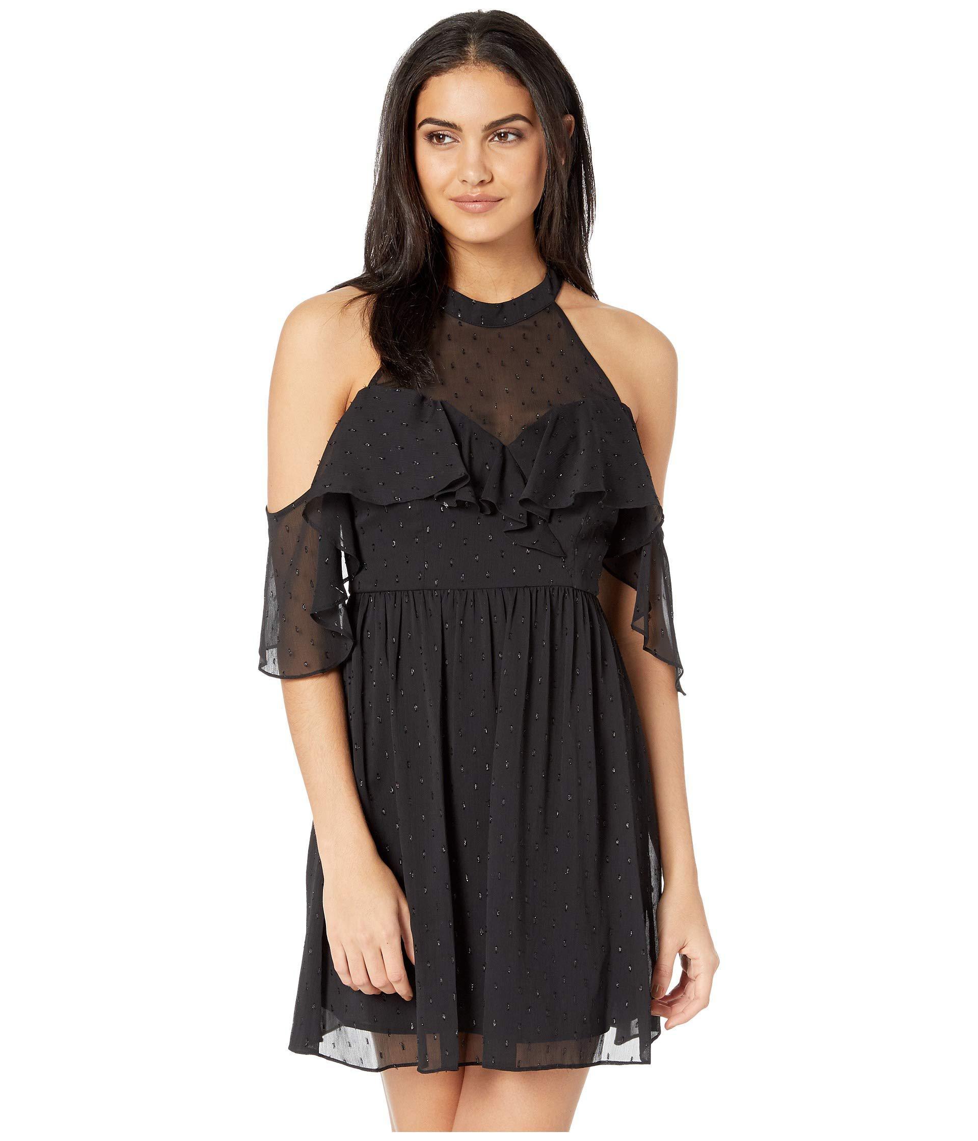 3e9718f49f8 Lyst - BCBGeneration Halter Cold Shoulder Ruffle Dress in Black