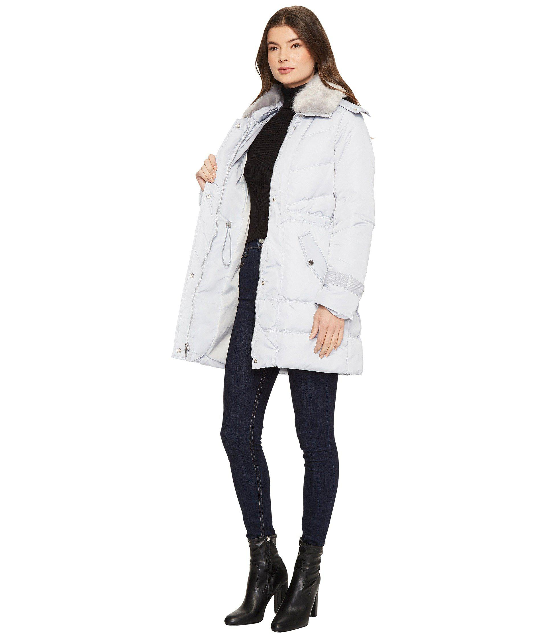 0a671eab07 Lyst - Kenneth Cole Oxford Hooded Anorak W  Removable Faux Fur ...