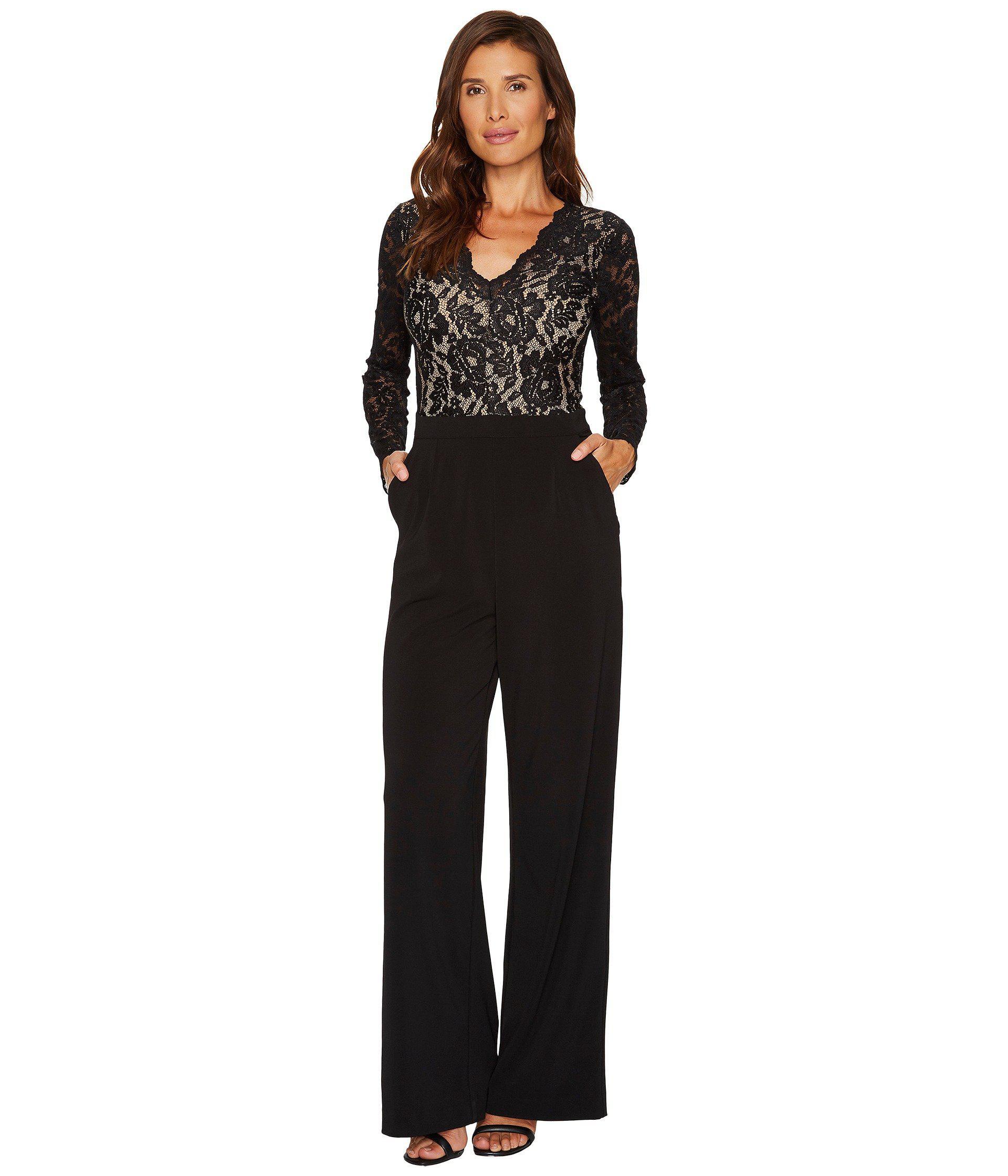 3a48e96d69a Lyst - Karen Kane Ava Contrast Lace Jumpsuit in Black