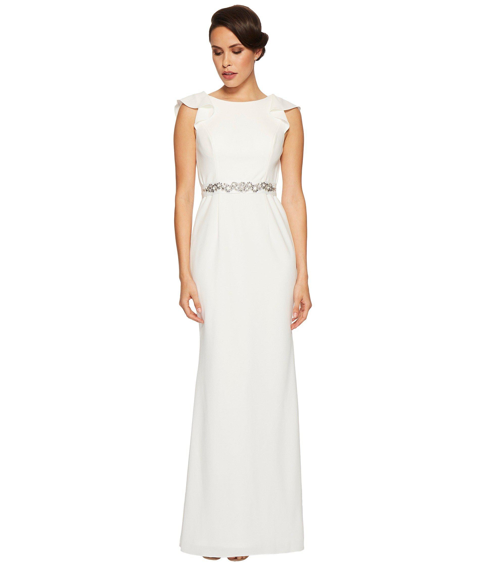 130192790a Adrianna Papell. Women s White Fluttered Short Sleeve Beaded Crepe Gown