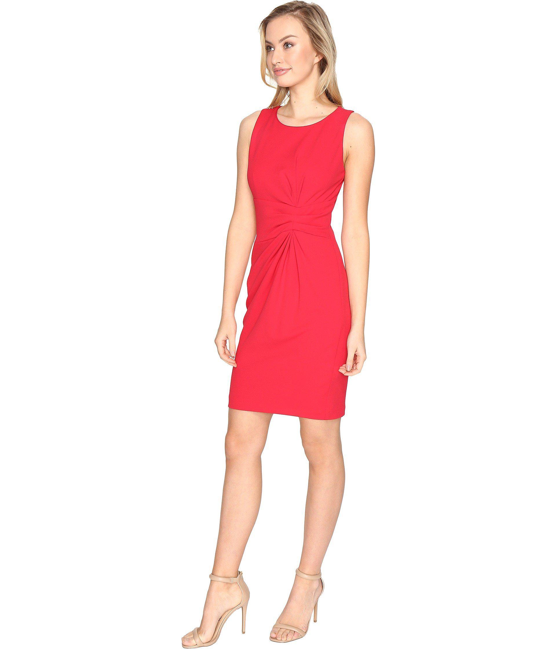 4f622088d7f6 Lyst - Tahari Knot Detail Scuba Crepe Sheath Dress in Red - Save 56%