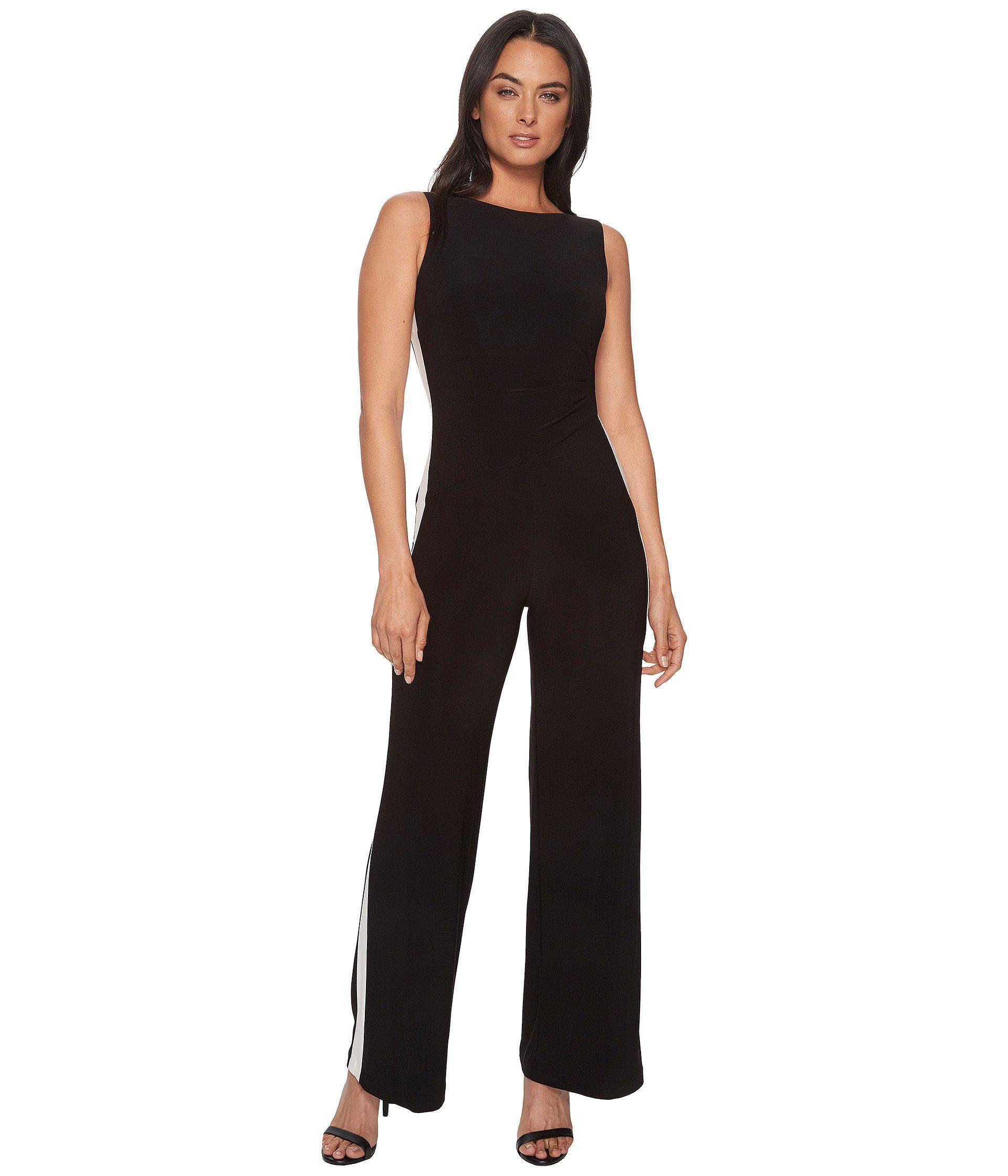 97a78a4c79a Lyst - Lauren by Ralph Lauren Shah Two-tone Matte Jersey Jumpsuit in ...