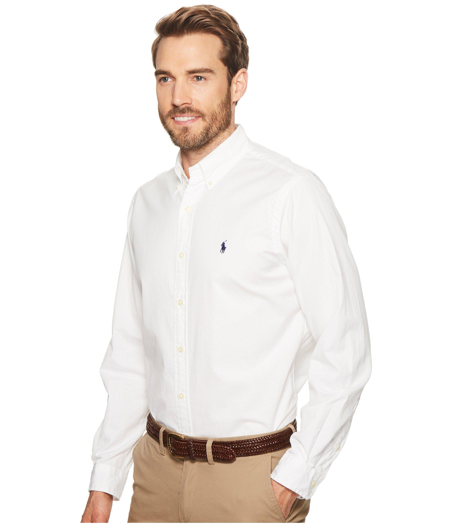7aec16c80f4 ... discount lyst polo ralph lauren gd chino long sleeve sport shirt in  white 64555 8d9bb