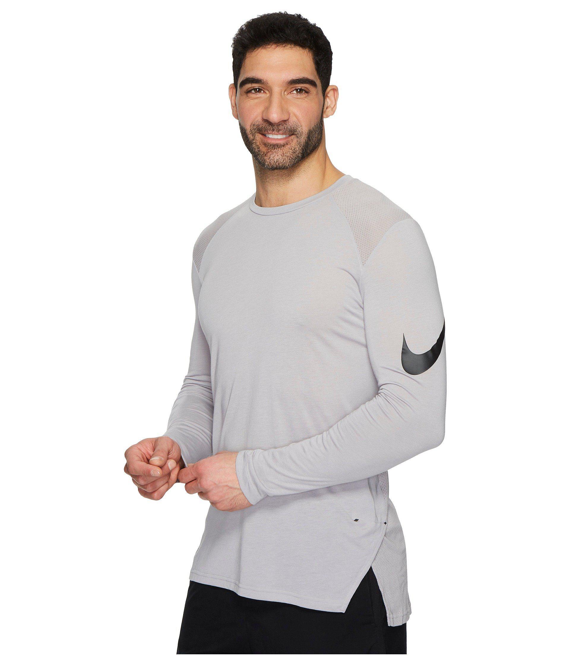 25150bbe0c3e Lyst - Nike Breathe Elite Basketball Long Sleeve Top in Gray for Men