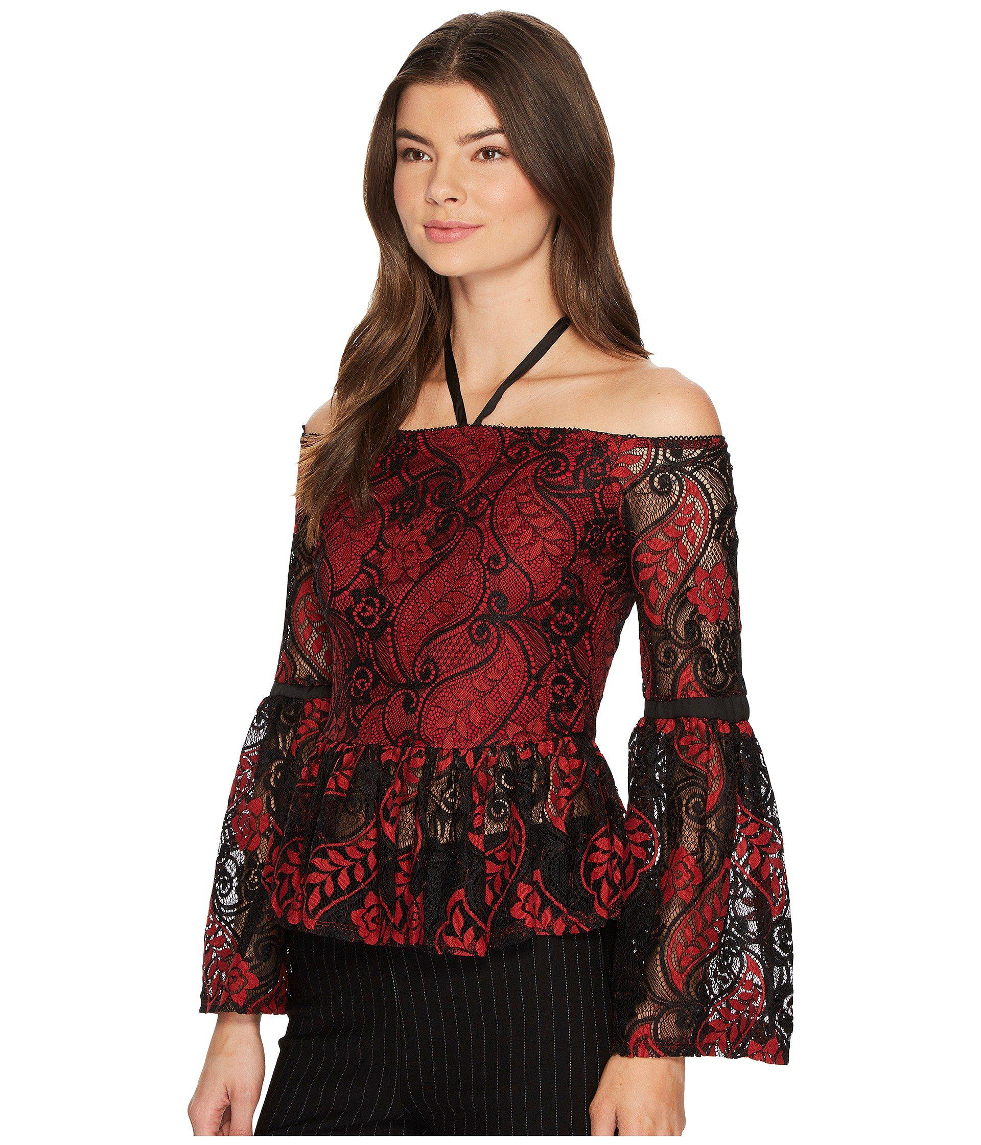 be48f230df0a4 Lyst - Romeo and Juliet Couture Lace Off The Shoulder Top in Red
