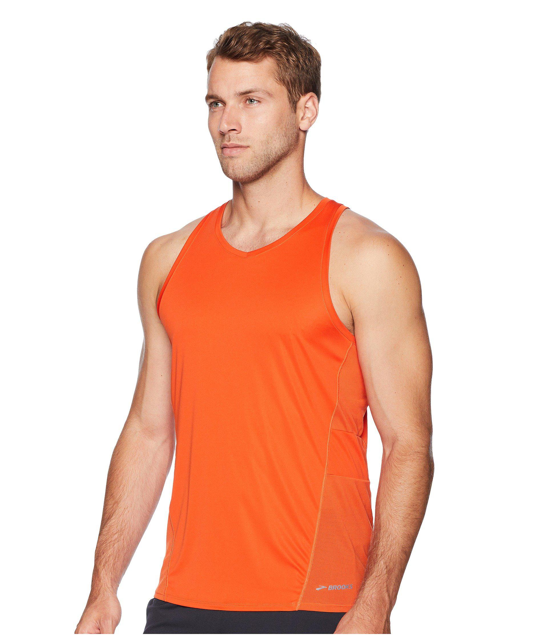 f886bee5e9ba40 Lyst - Brooks Stealth Singlet in Orange for Men