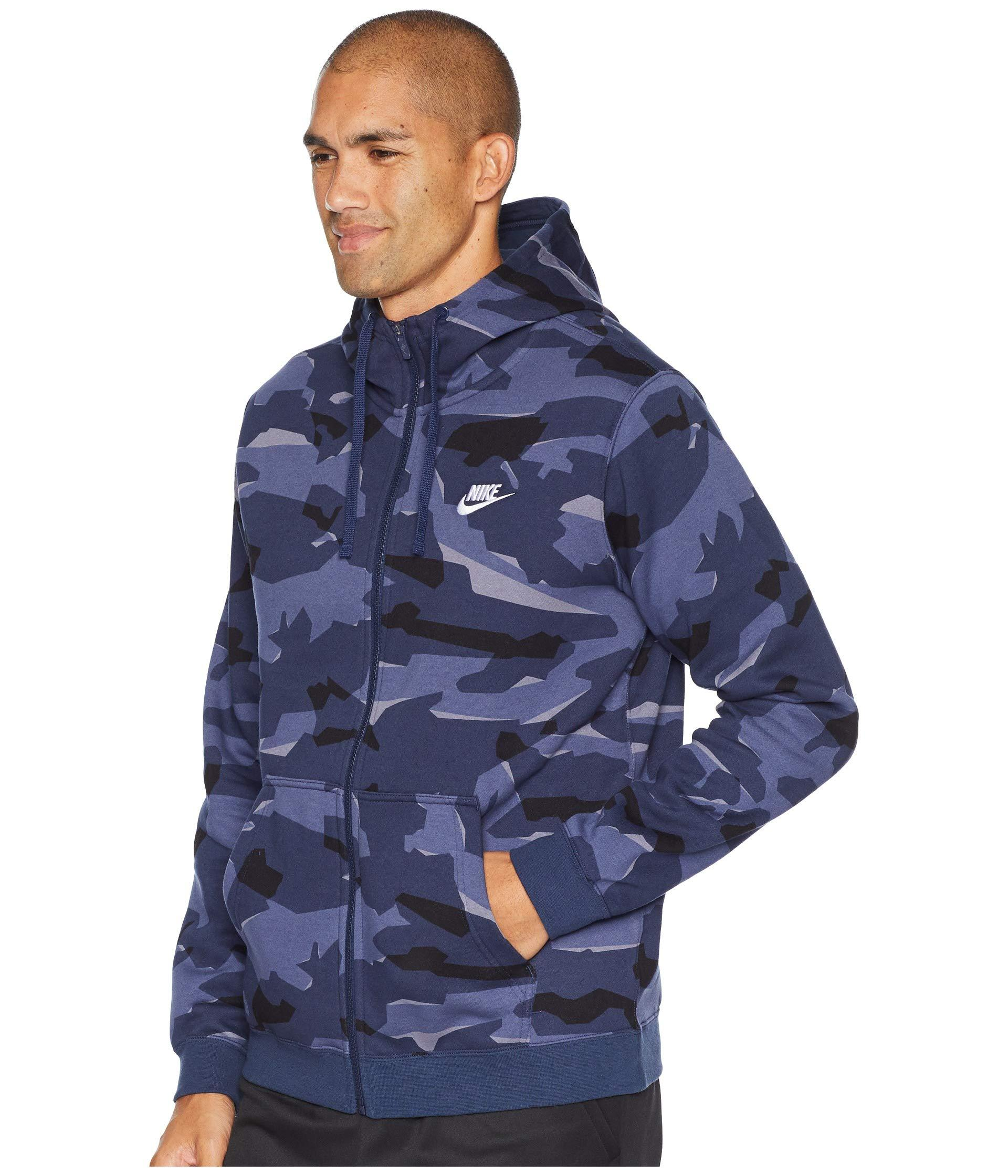 7f06b594a4e2 Lyst - Nike Nsw Club Camo Hoodie Full Zip Bb in Blue for Men - Save 33%