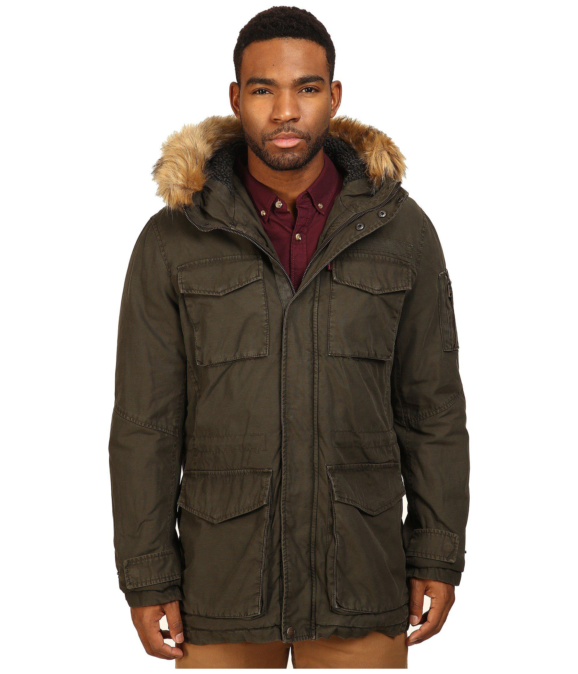 Levi's Long Hooded Parka W/ Fur Trim in Green for Men | Lyst