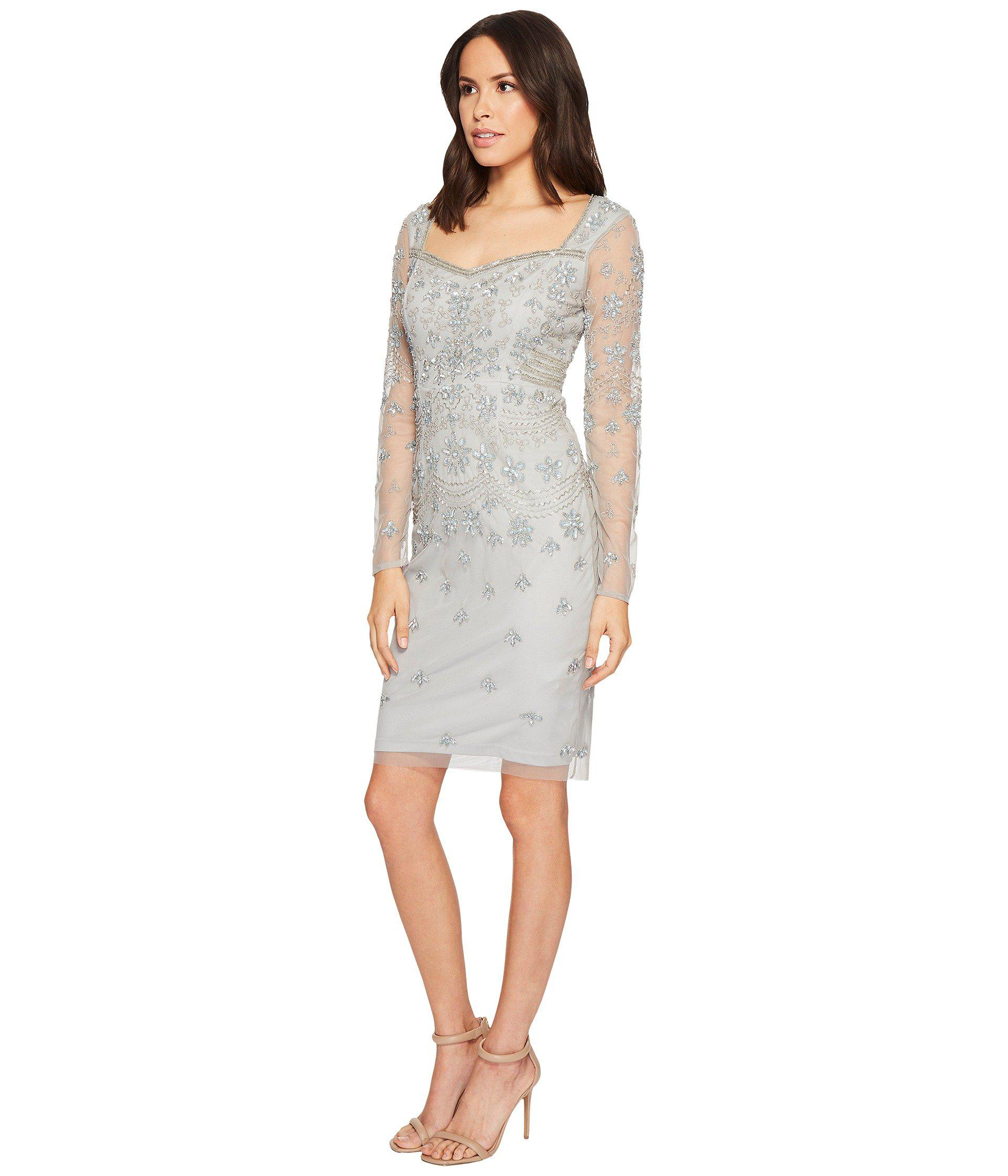 238a3c5ad98 Lyst - Adrianna Papell Short Beaded Long Sleeve Dress With Sweetheart  Neckline - Save 45%