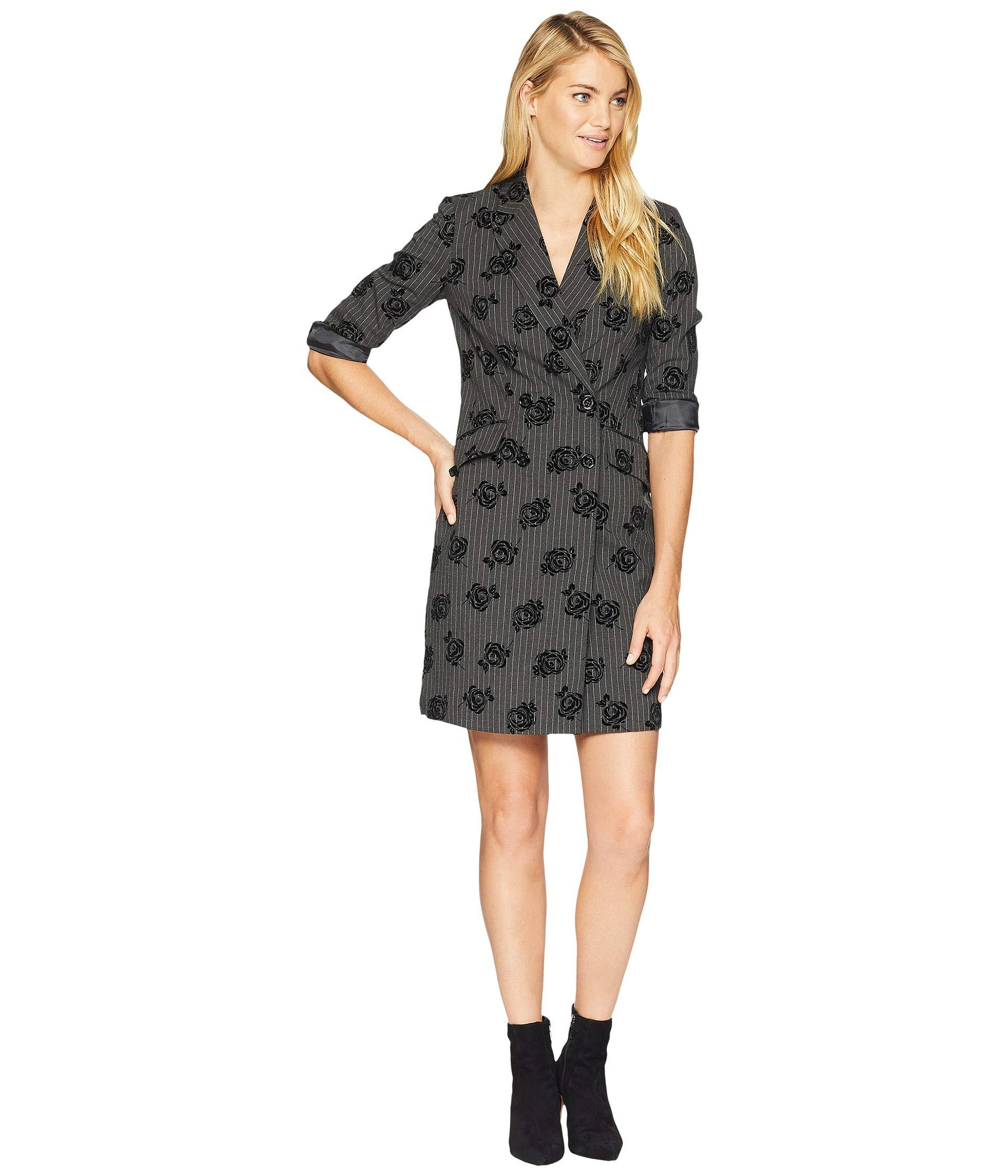 70c6083ee6b8 Lyst - Calvin Klein Embroidered Coat Dress in Black - Save 16%