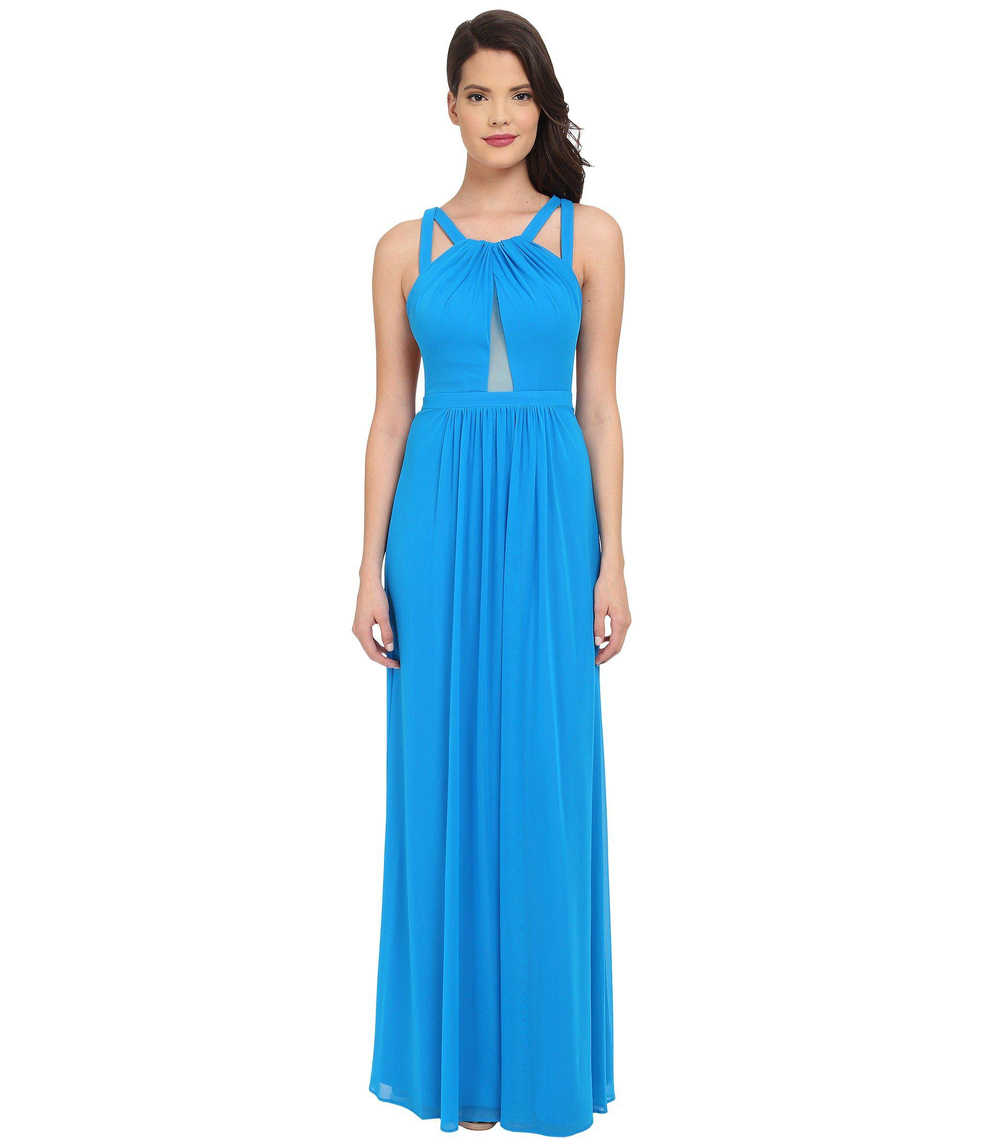 Lyst - Faviana Mesh Gown With Illusion Center Front 7741 in Blue ...