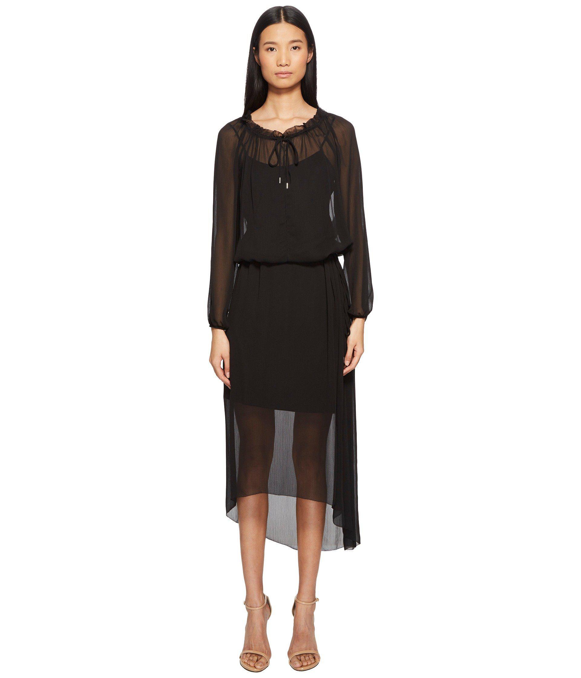 ad81e5daa64e3 Lyst - ESCADA Daluna Long Sleeve Sheer Overlay Dress in Black - Save 70%