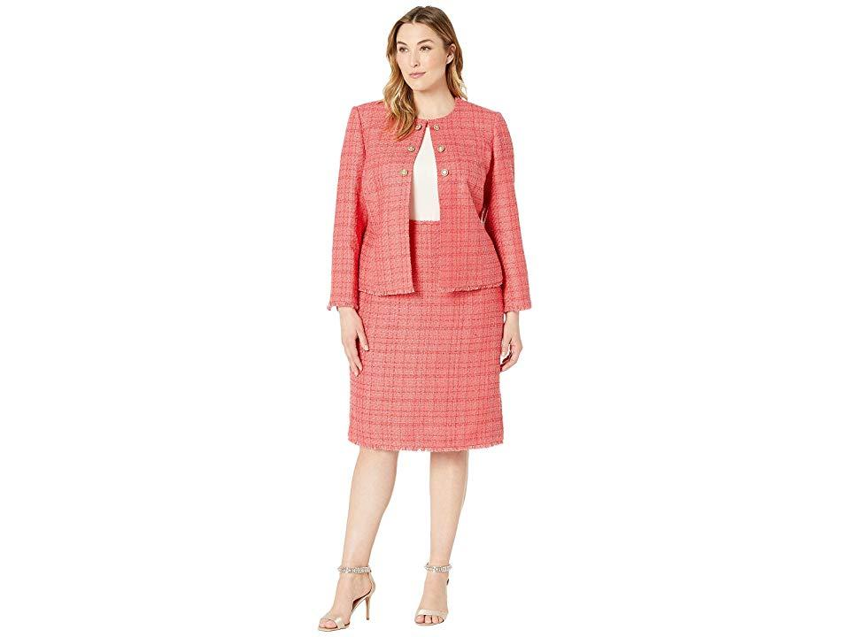 dc7ae42f992d Tahari Plus Size Boucle Skirt Suit With Gold Finish Trim (coral ...