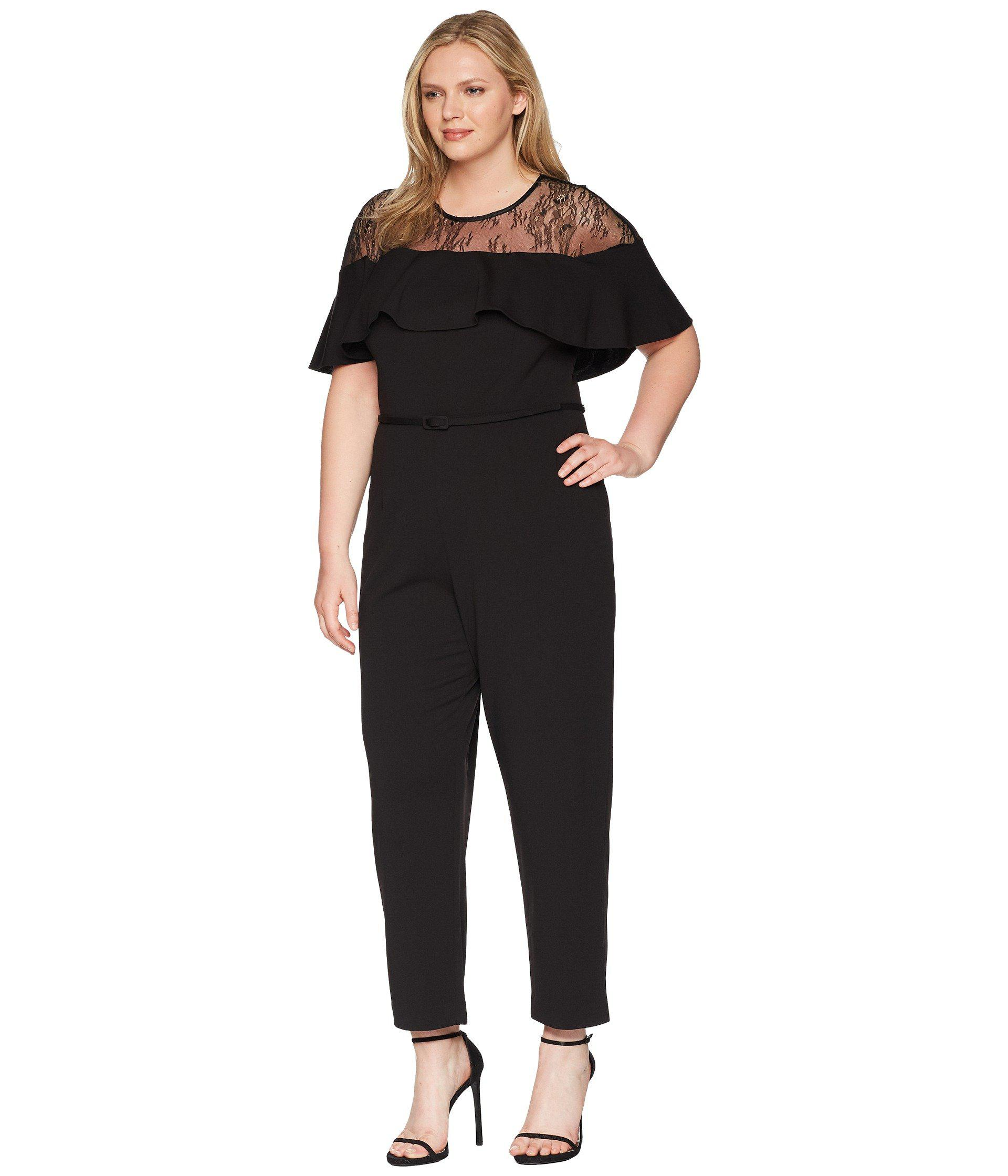 e11830ee05f57 Lyst - Adrianna Papell Plus Size Illusion Neckline Jumpsuit in Black - Save  30%
