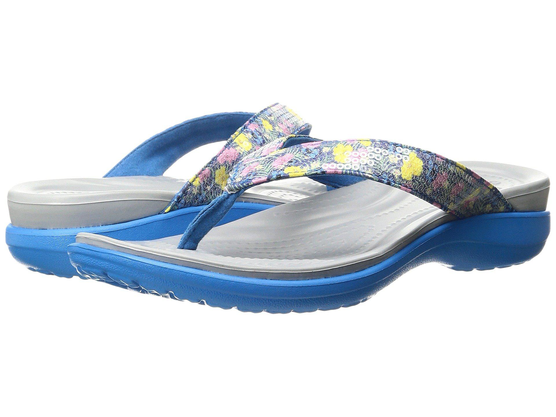 649ed2fdc1af9 Lyst - Crocs™ Capri V Graphic Sequin Flip in Blue