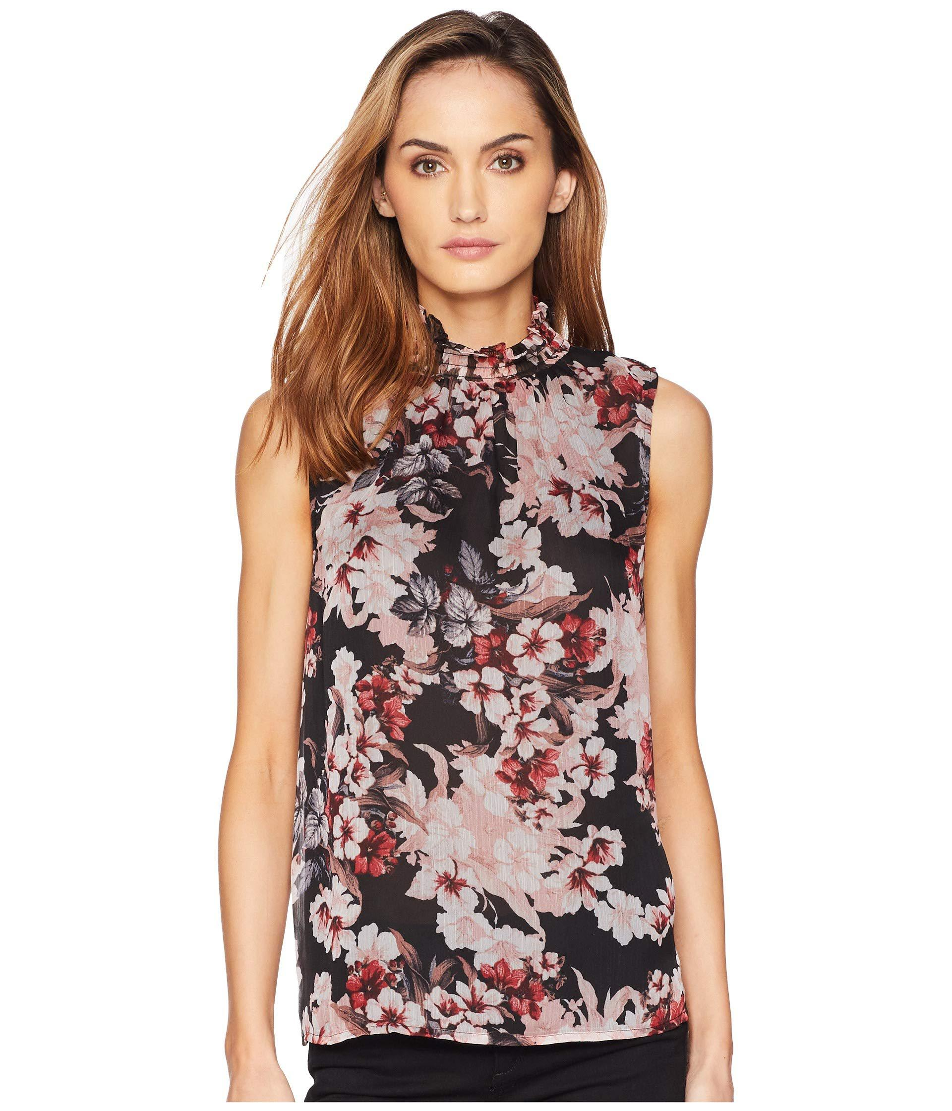 41212b83f3ba06 Vince Camuto. Women's Black Sleeveless Blooms Ruffle Smocked Neck Blouse
