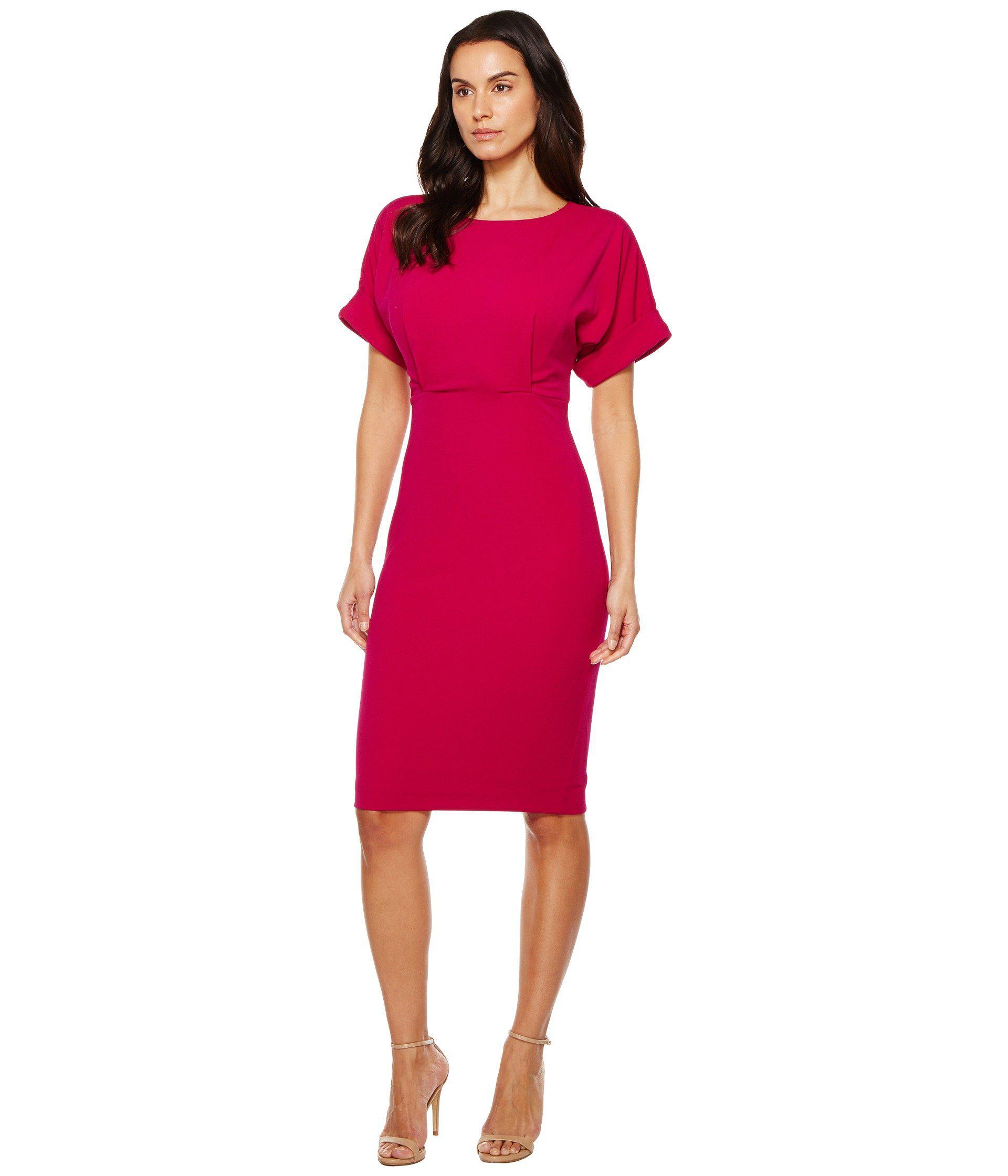9e5834f1 Lyst - Badgley Mischka Dolman Sheath Dress in Red