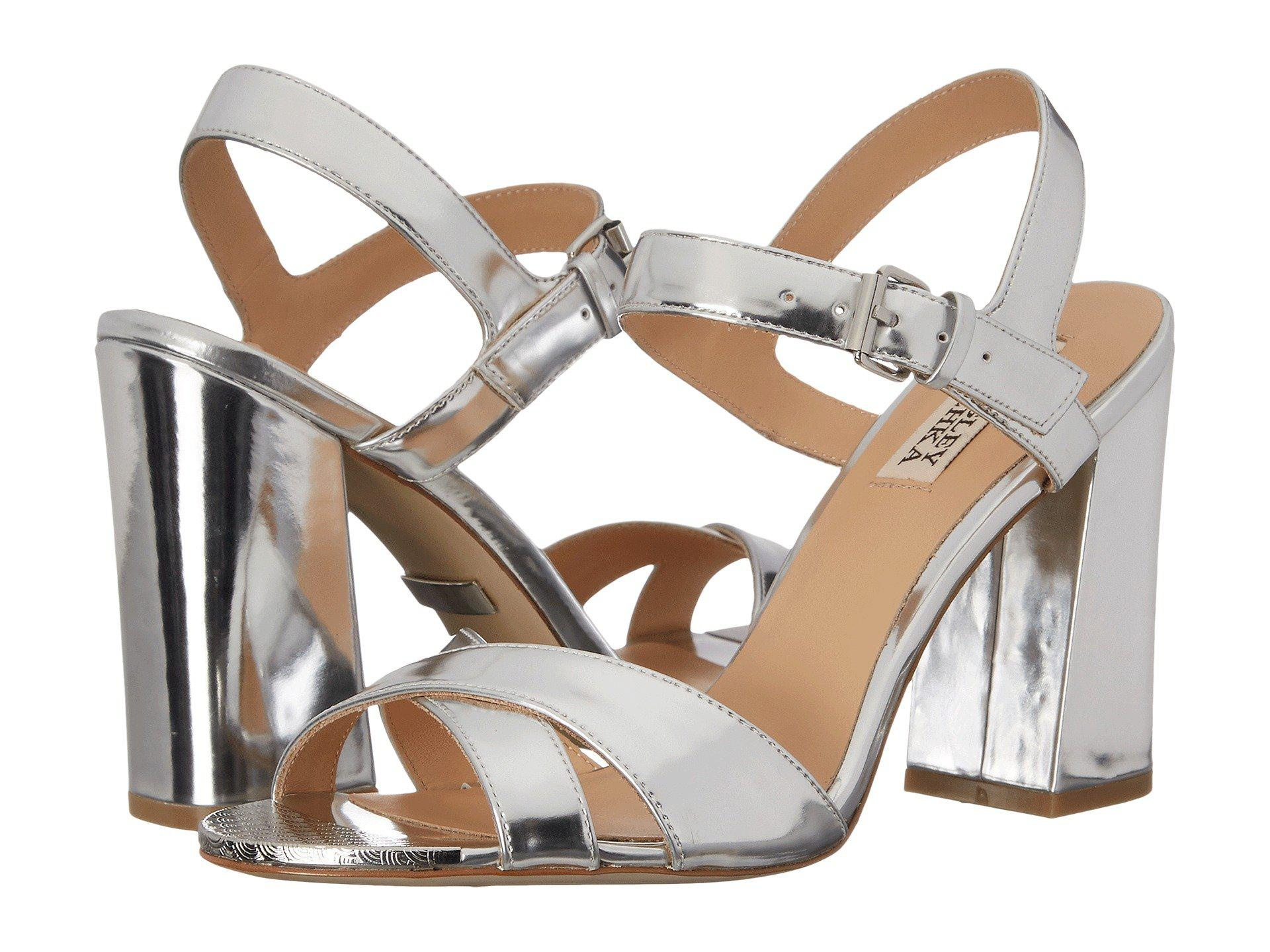 Womens Sandals Badgley Mischka Ascot Silver Specchio Kid Leather