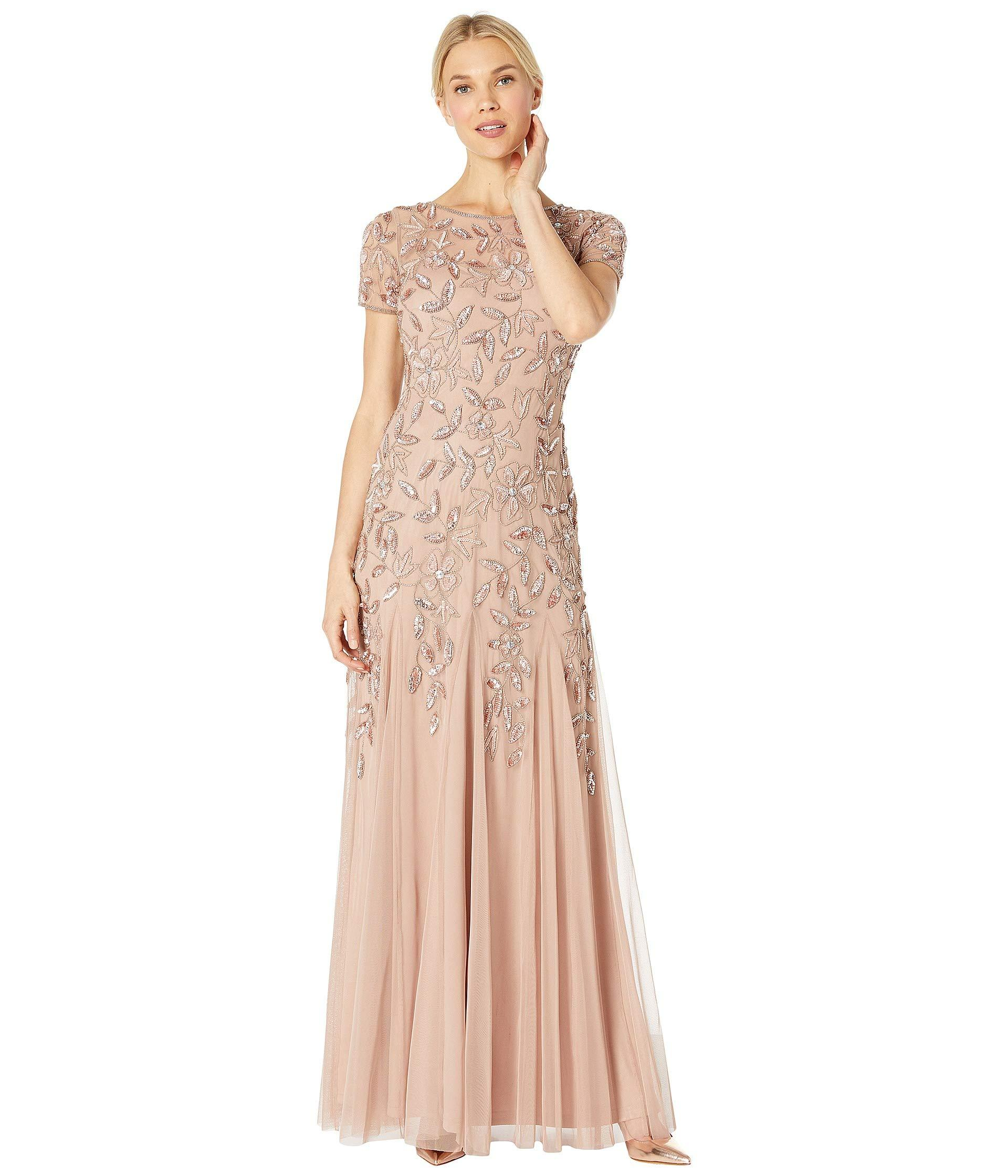 d820beeaed0 Adrianna Papell Floral Beaded Godet Evening Gown in Pink - Save 55 ...