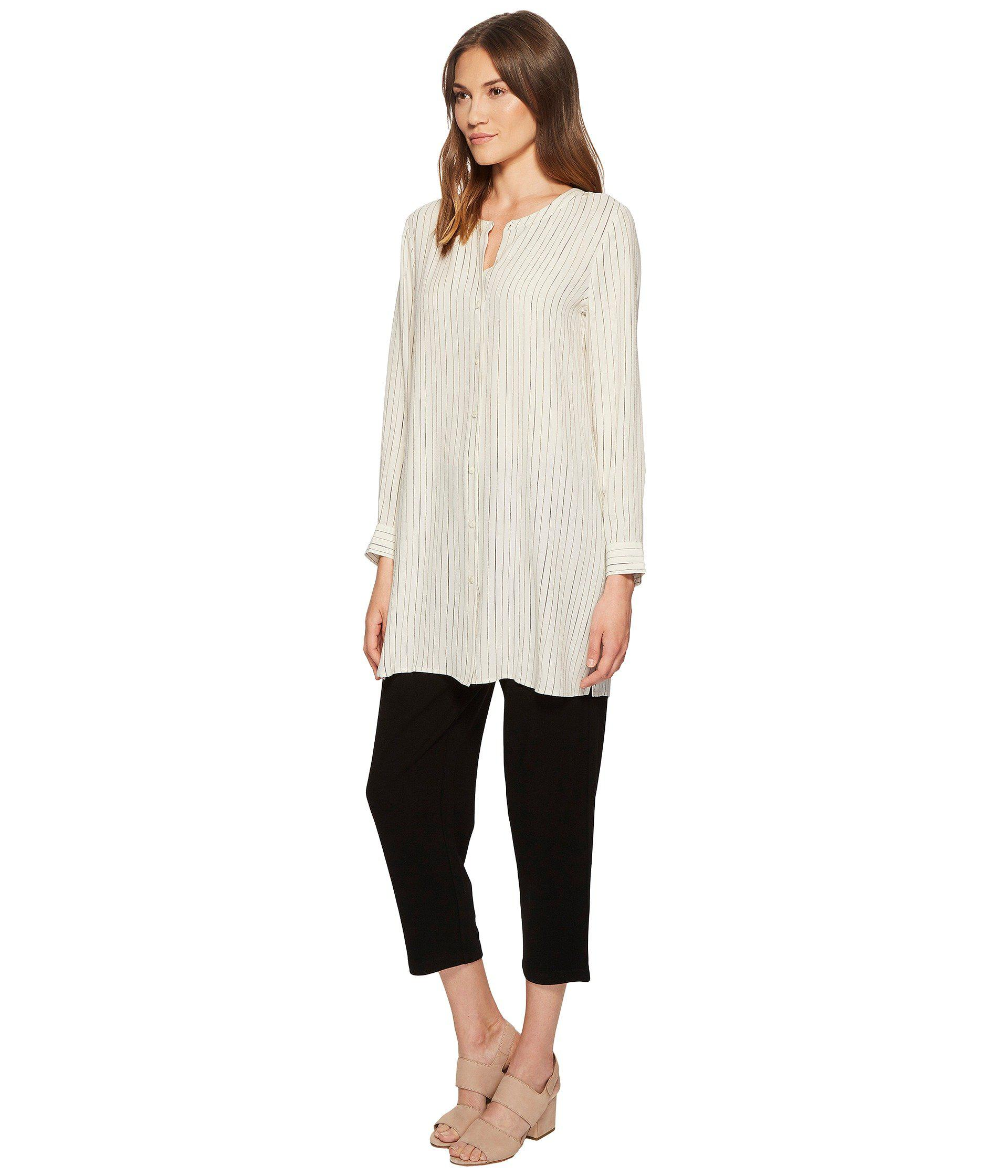 cf77e5ddaf Lyst - Eileen Fisher Painterly Stripe Silk Crepe Long Shirt in White - Save  53%