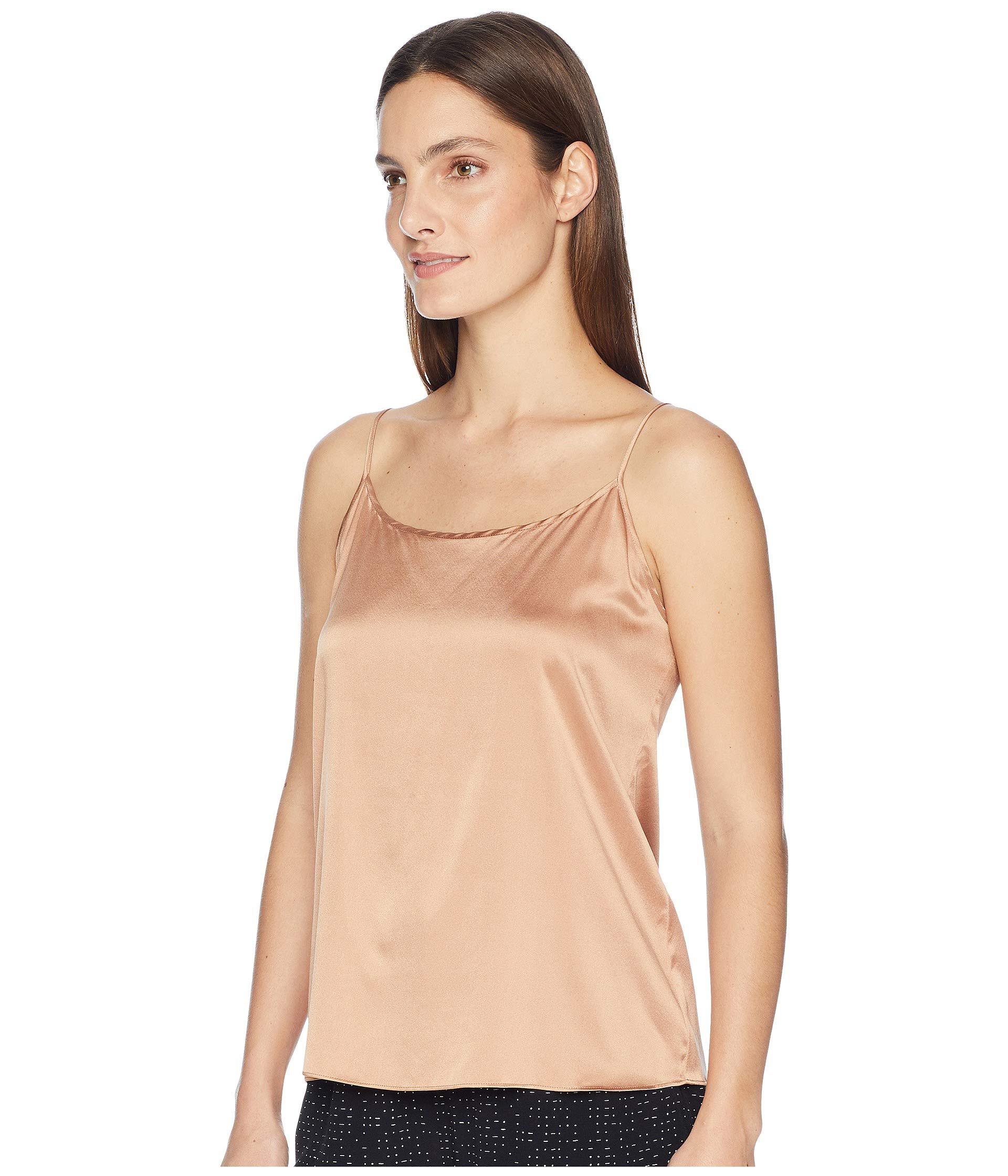 5bcc4c34fcb9fd Lyst - Eileen Fisher Stretch Silk Charmeuse Scoop Neck Cami in Natural -  Save 34%