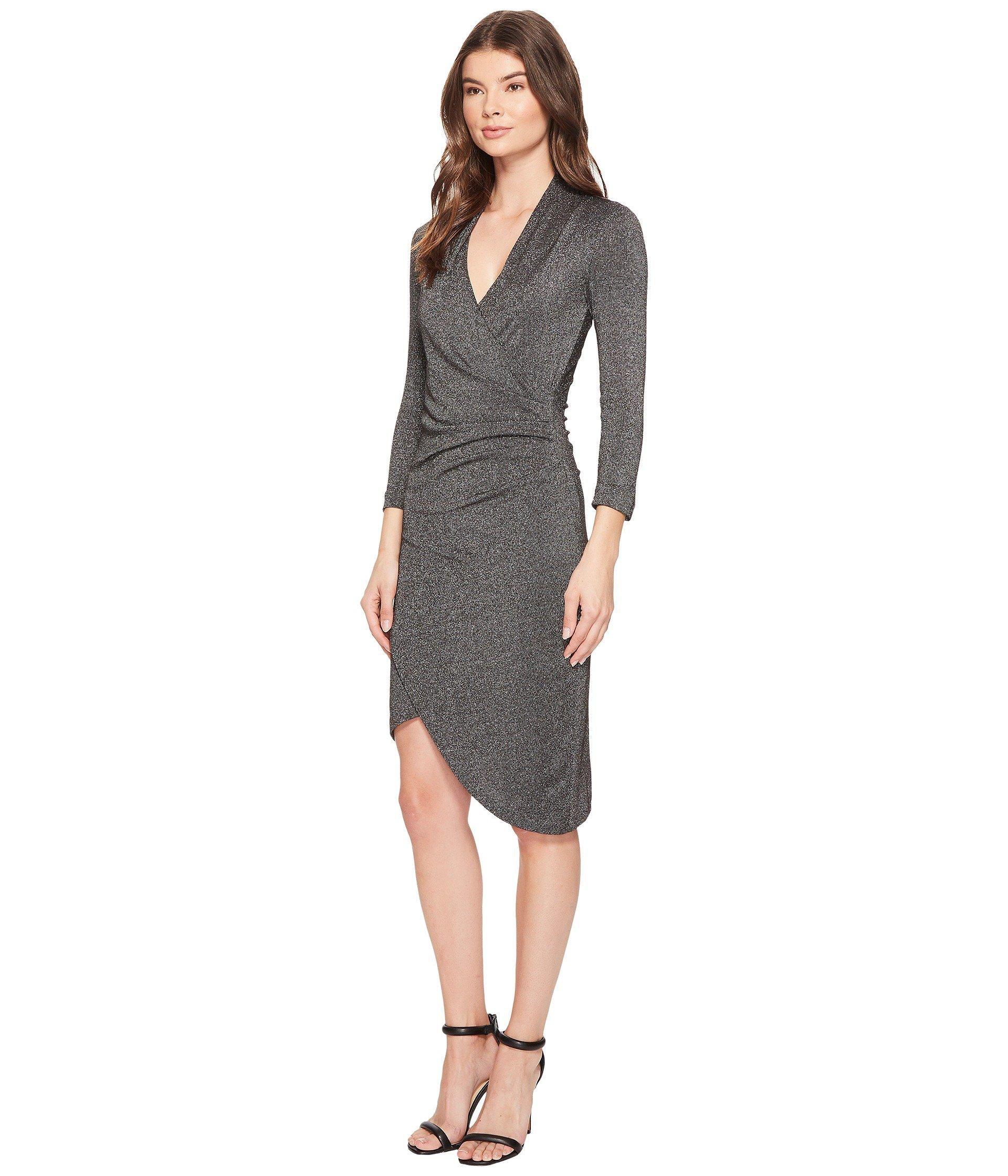4a8f23675c4 Lyst - Nicole Miller Silver Glitz V-neck Asymmetrical Dress - Save 22%