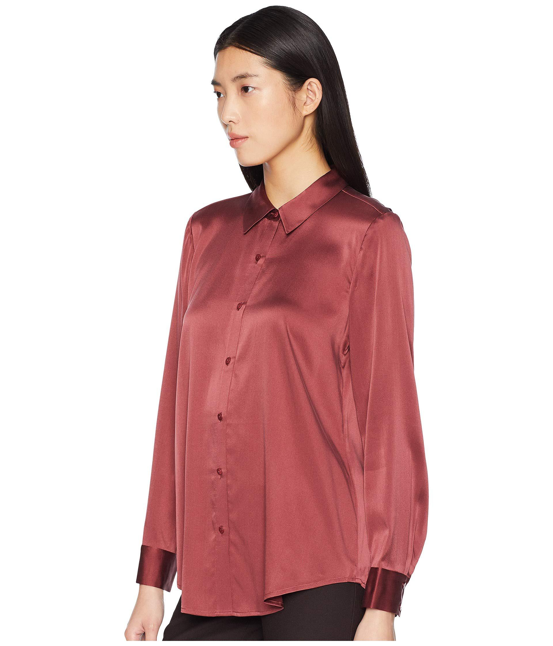 5297f41256f29 Lyst - Eileen Fisher Stretch Silk Charmeuse Classic Collar Shirt in Red -  Save 30%
