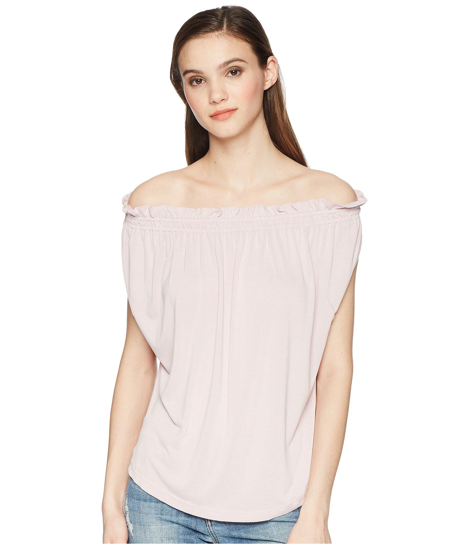 01317712f2c4bf Lyst - Lucky Brand Sandwash Off The Shoulder Top - Save 41%