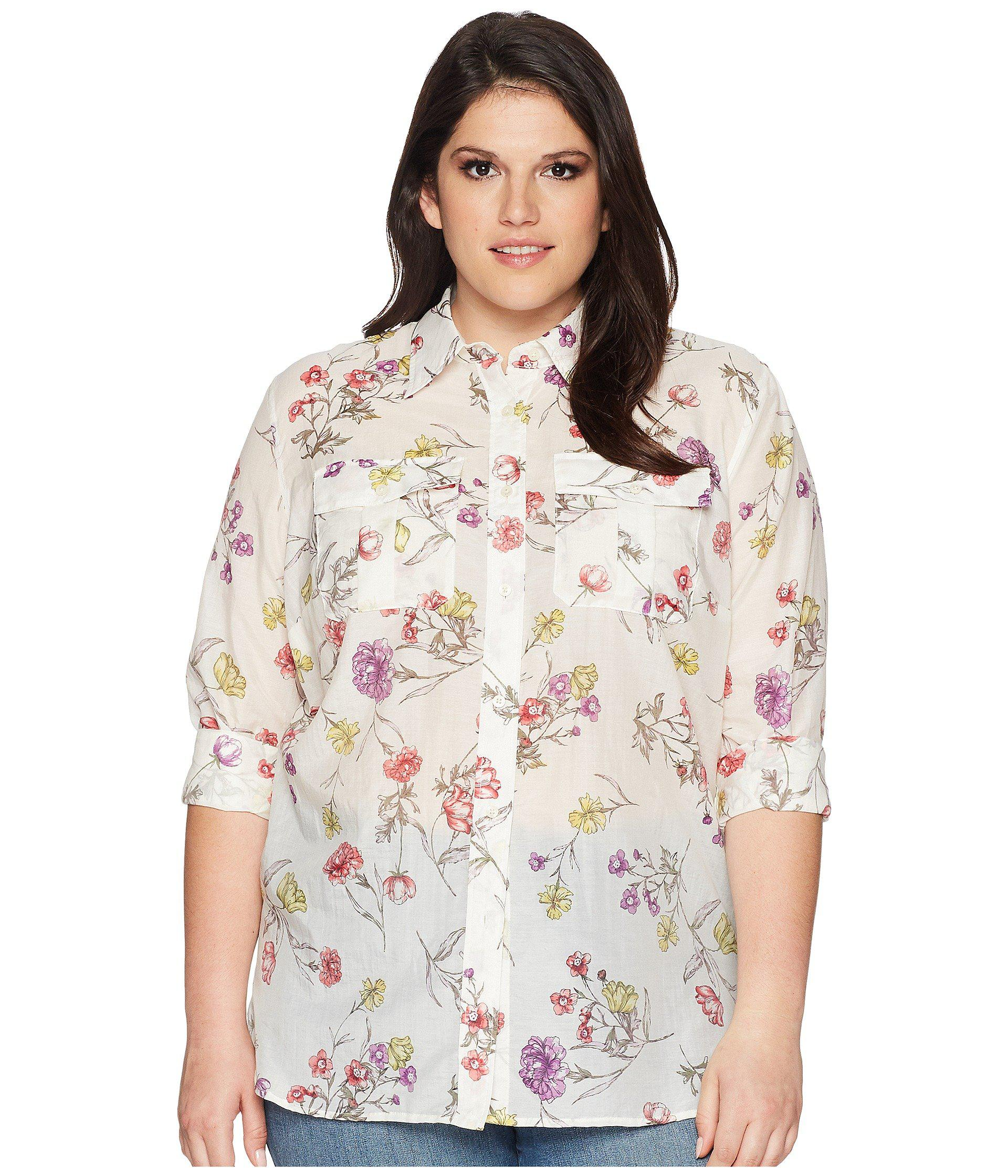 ec7bedce306 Lyst - Lauren by Ralph Lauren Plus Size Floral Cotton-blend Shirt ...