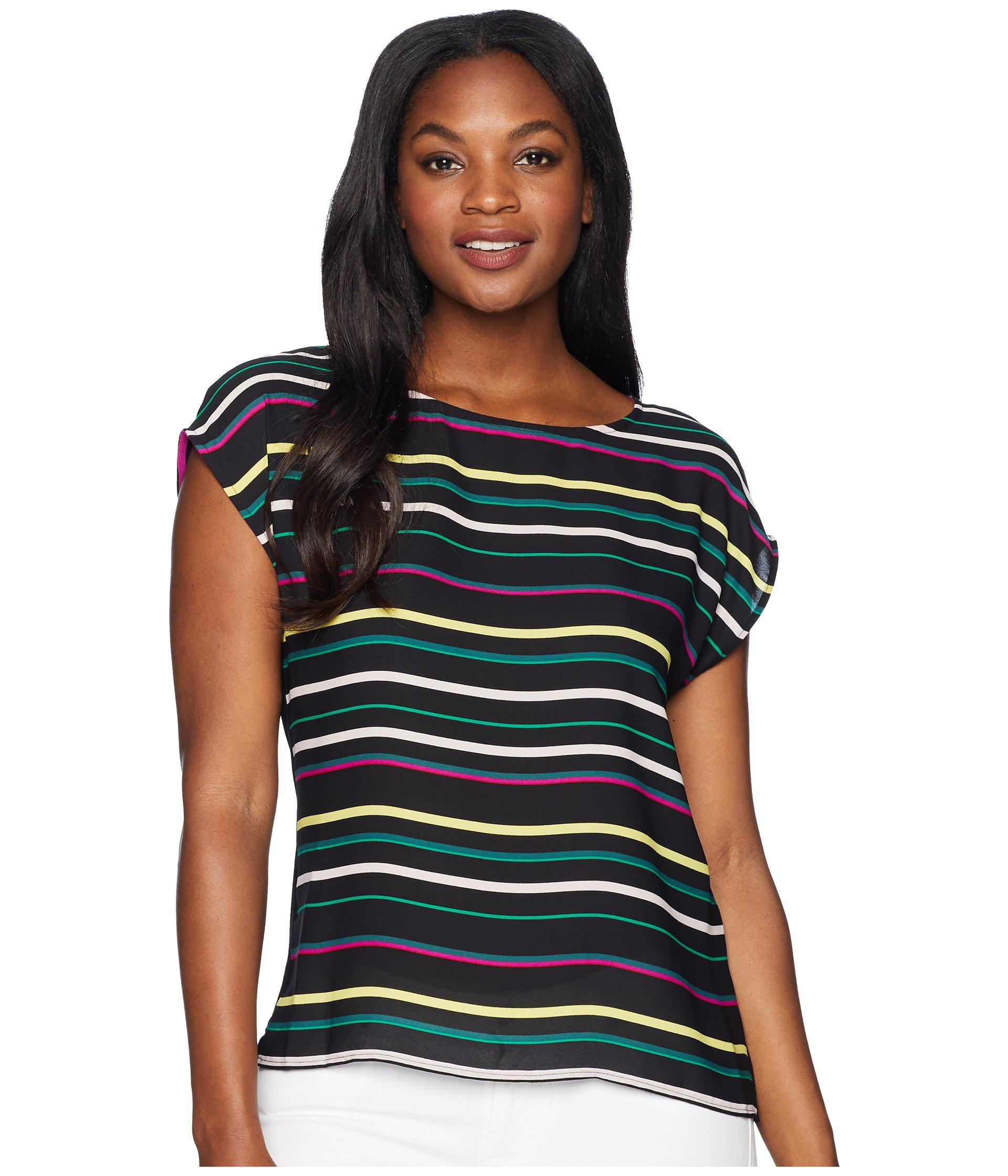 365cd64caa5fa Vince Camuto. Women s Black Extended Shoulder Paradise Multi Stripe Blouse