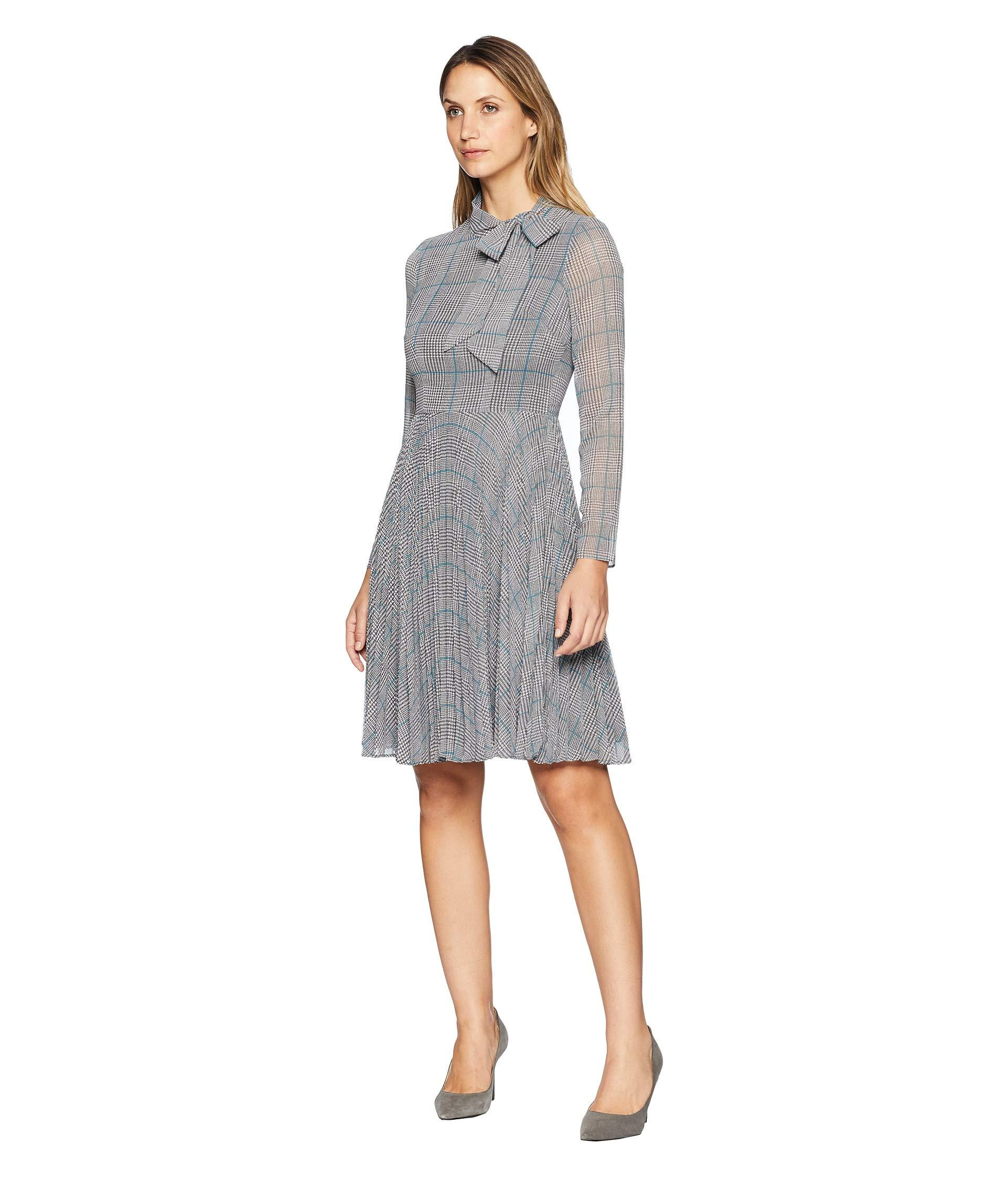 f2b5e0d38e1a Lyst - Maggy London Plaid Chiffon Side Neck Bow Tie Pleated Fit And Flare  Dress in Gray