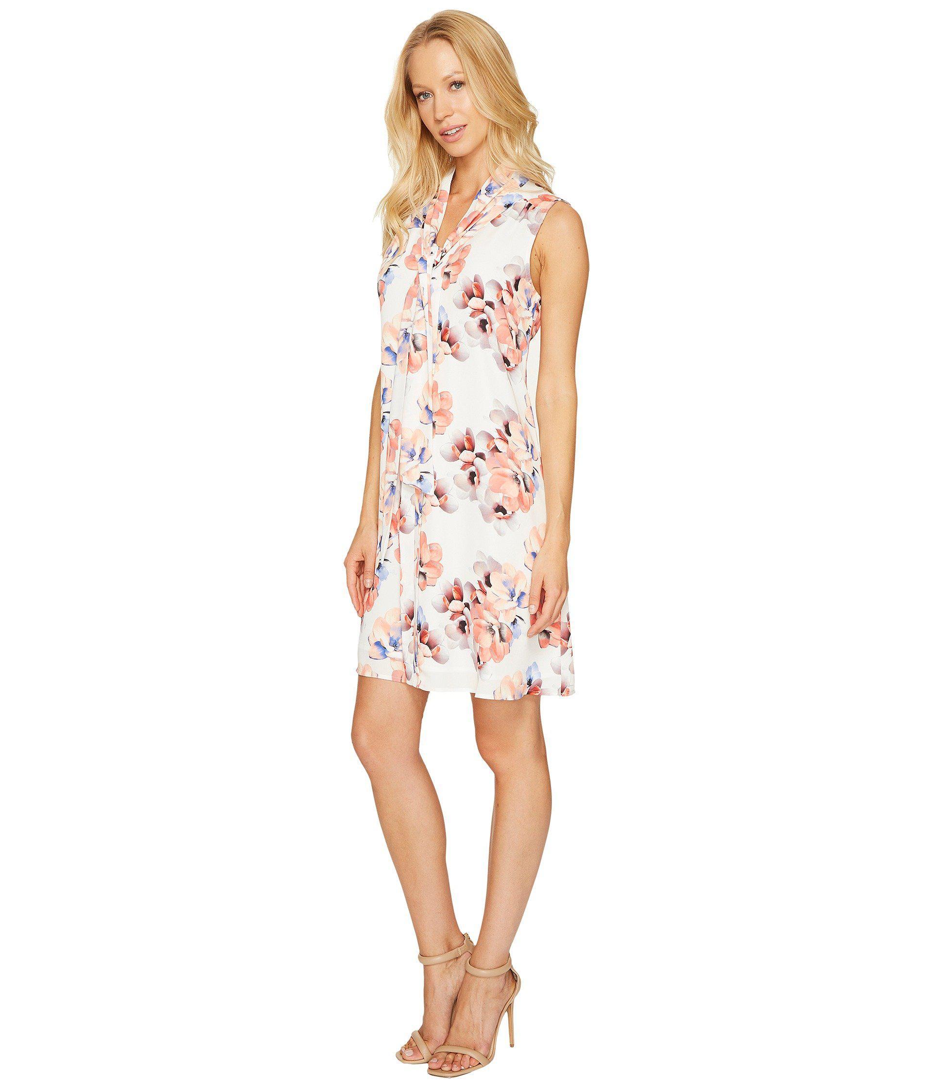 782d2ac29269d Lyst - Cece Sleeveless Garden Blooms Tie Neck Swing Dress in White