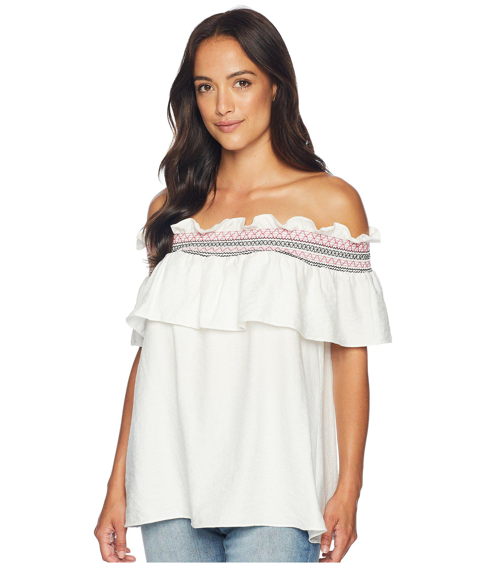 804d5c4021d Lyst - Cece Off The Shoulder Ruffled Top With Ric Rac Trim in White ...