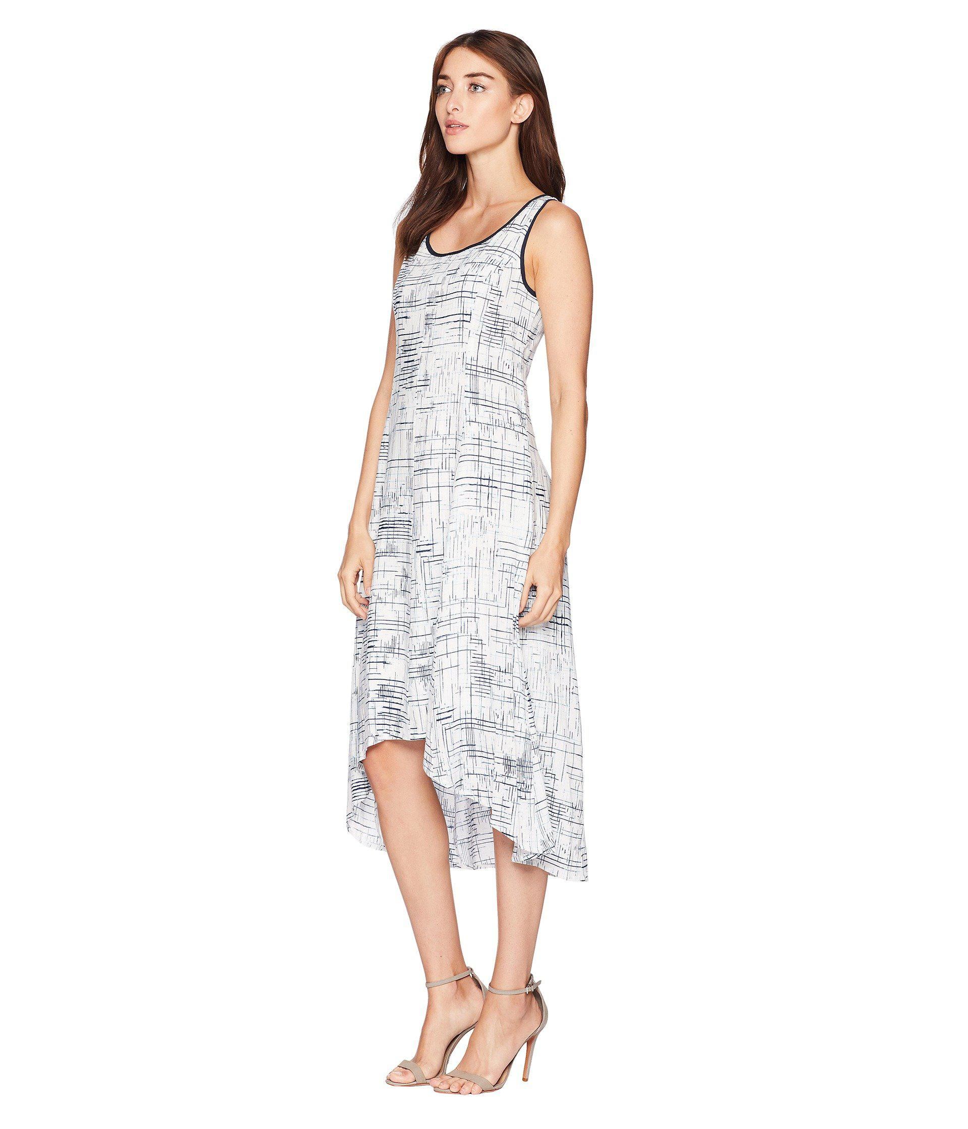d0a8d3c03f0 Lyst - Jones New York Sleeveless Printed Linen High-low Hem Dress in White  - Save 76%
