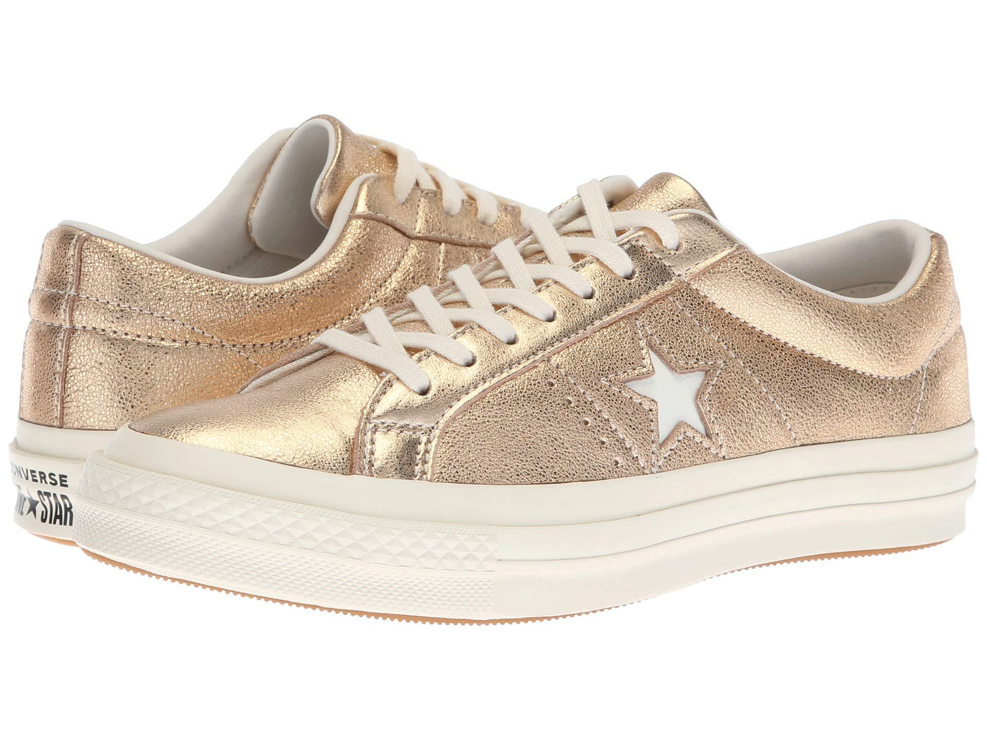 d985374aa20a4d Lyst - Converse One Star Heavy Metallic Leather Ox in Metallic ...