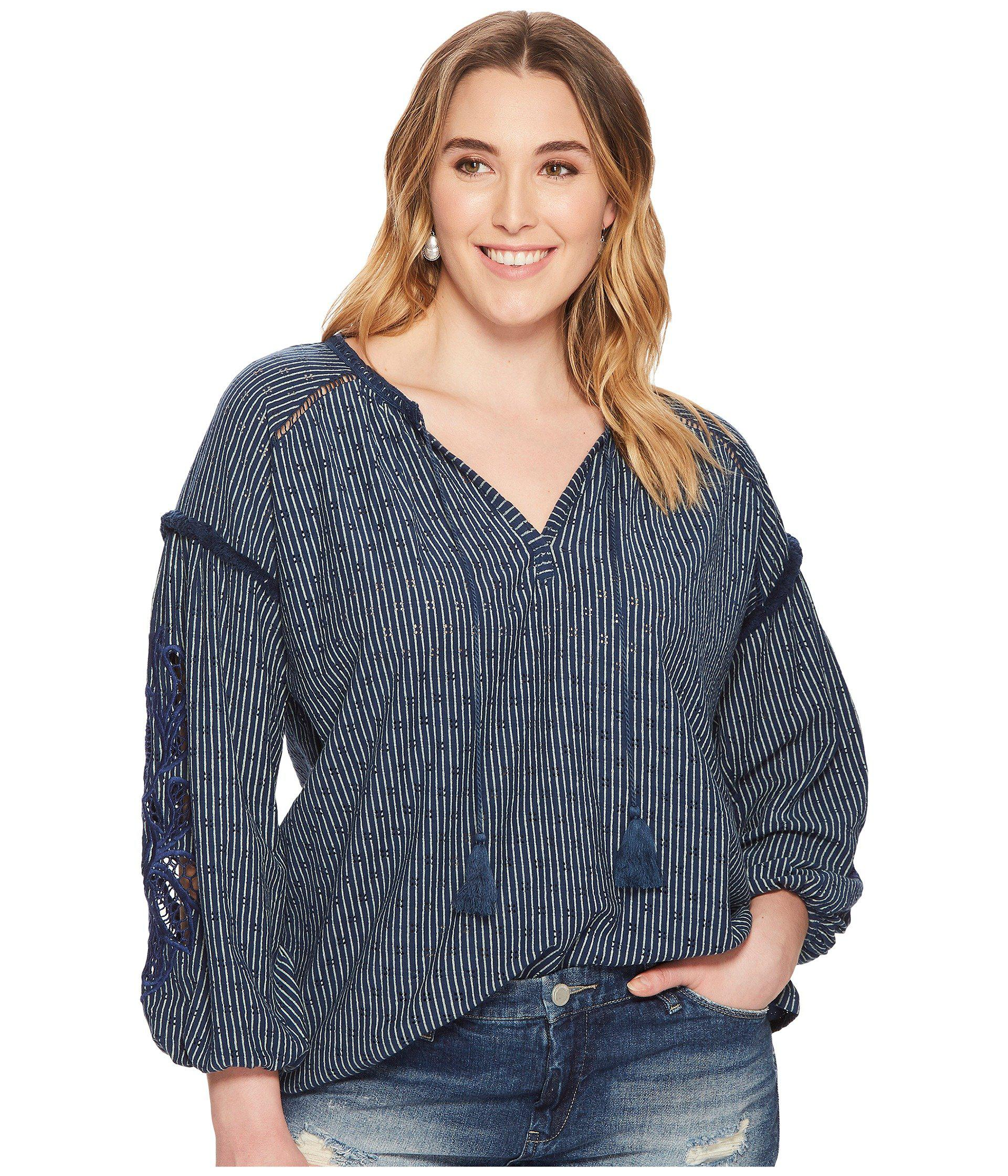 03aeac1944b Lyst - Lucky Brand Plus Size Cut Out Stripe Peasant Top in Blue