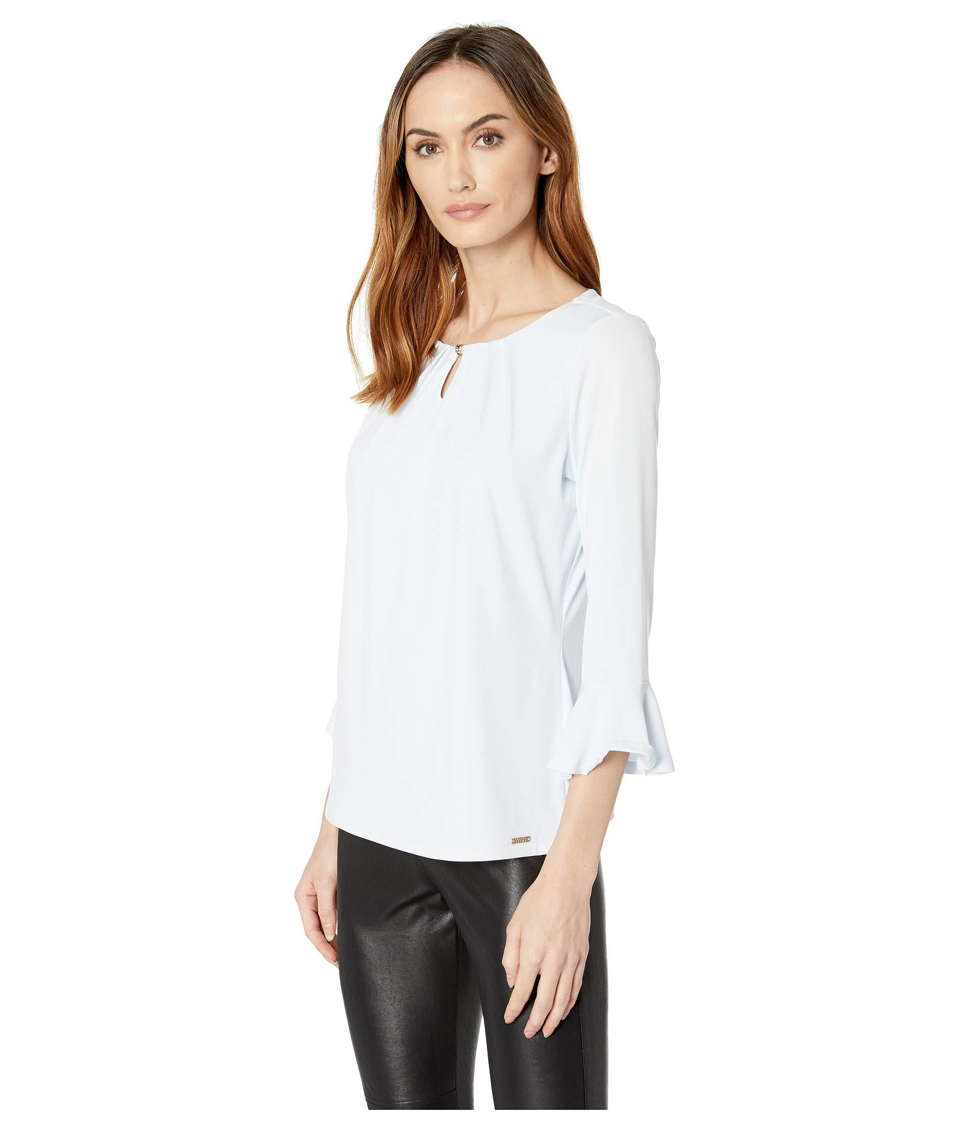 04065b254bf37 Lyst - Ivanka Trump Long Bell Sleeve Bead-neck Knit Top in White