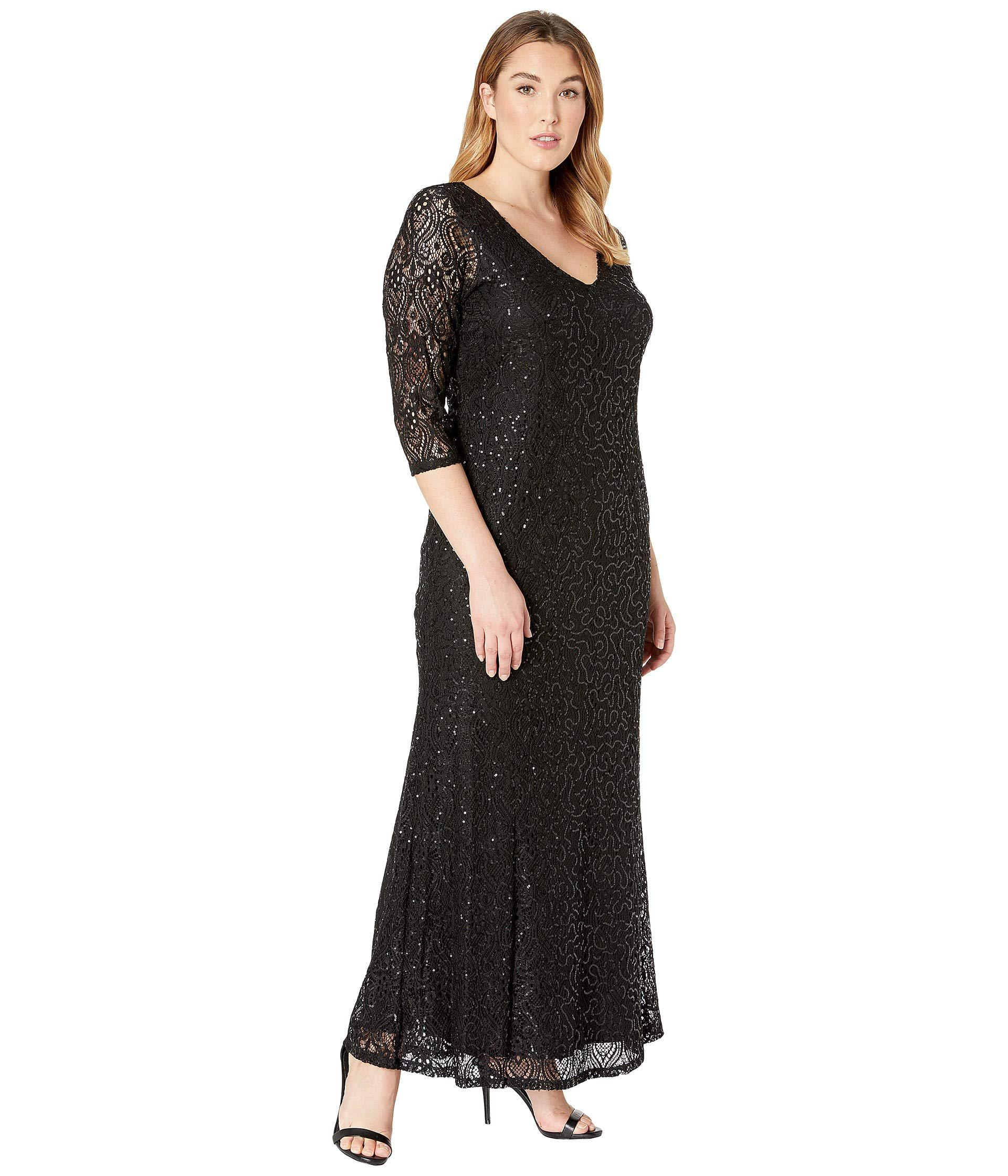 34008c5ef014c Marina Plus Size Stretch Sequin Lace 3/4 Sleeve Gown in Black - Lyst