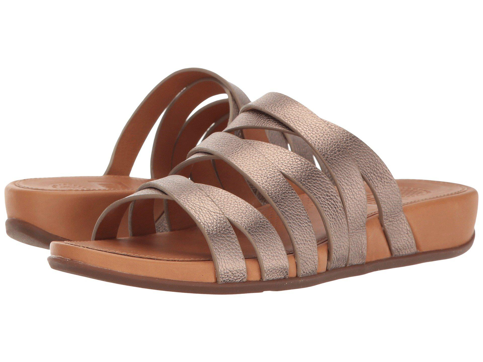 80f5eb0ec445 Lyst - Fitflop Lumy Leather Slide in Brown